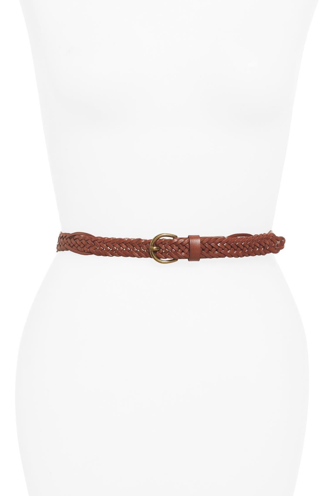 Skinny Braided Belt,                             Main thumbnail 1, color,                             210
