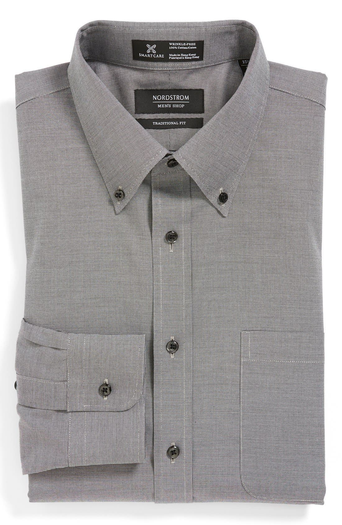 Smartcare<sup>™</sup> Traditional Fit Pinpoint Dress Shirt,                             Main thumbnail 1, color,                             002