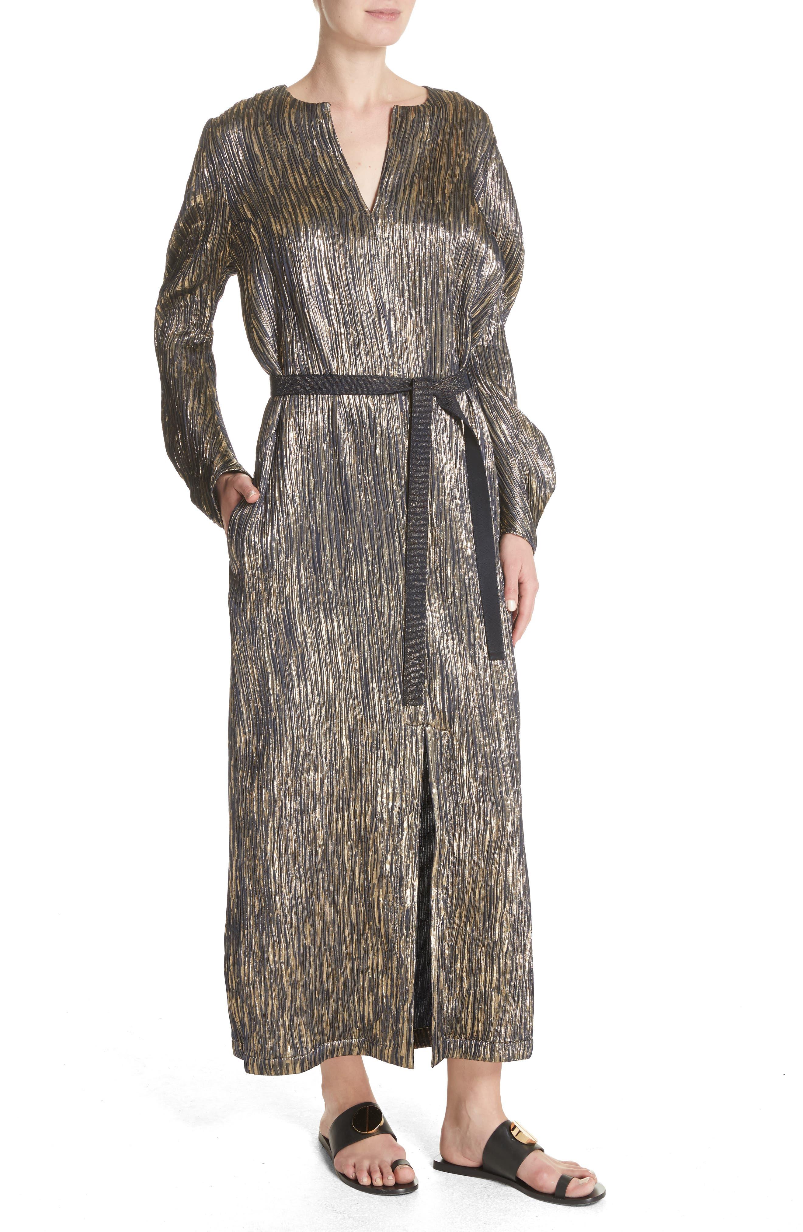 Metallic Silk Blend Midi Dress,                             Alternate thumbnail 4, color,                             004