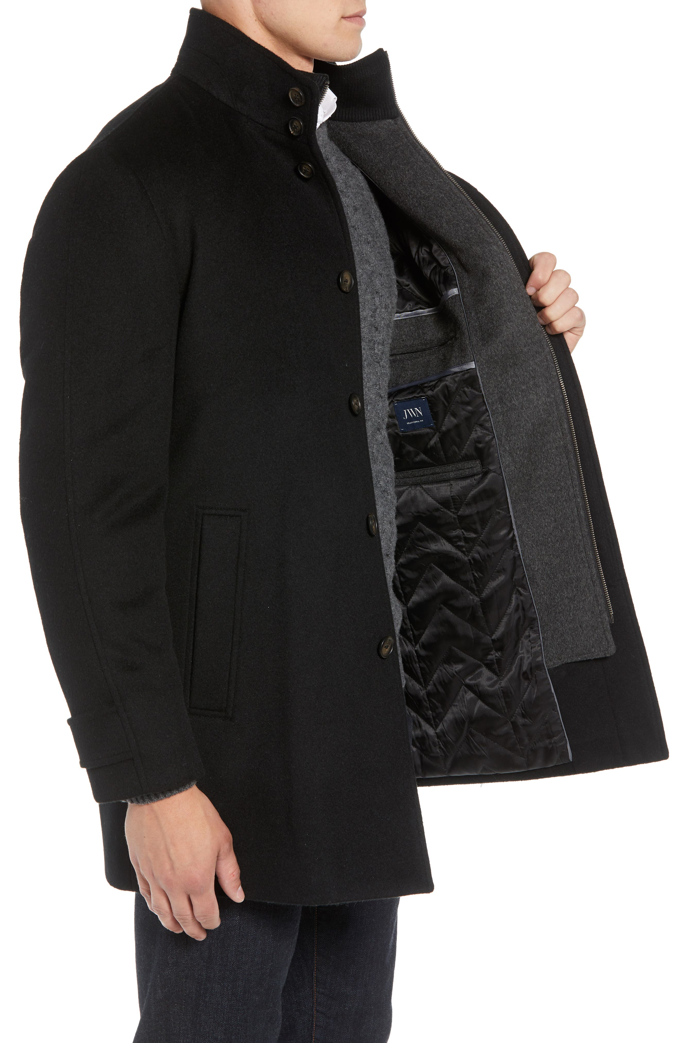 Hudson Wool Car Coat,                             Alternate thumbnail 3, color,                             BLACK