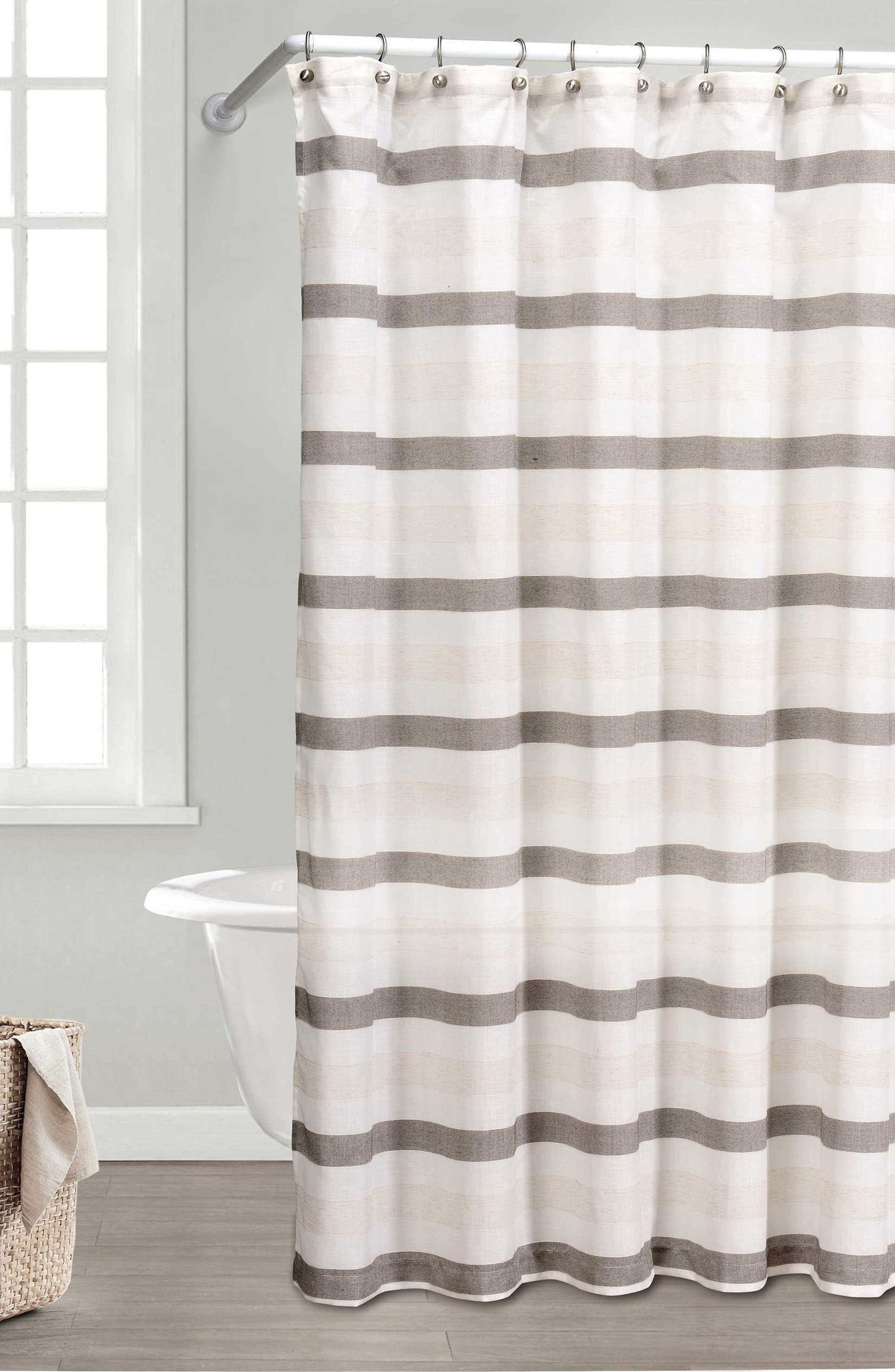 DUCK RIVER TEXTILE Akua Shower Curtain, Main, color, GREY-LINEN