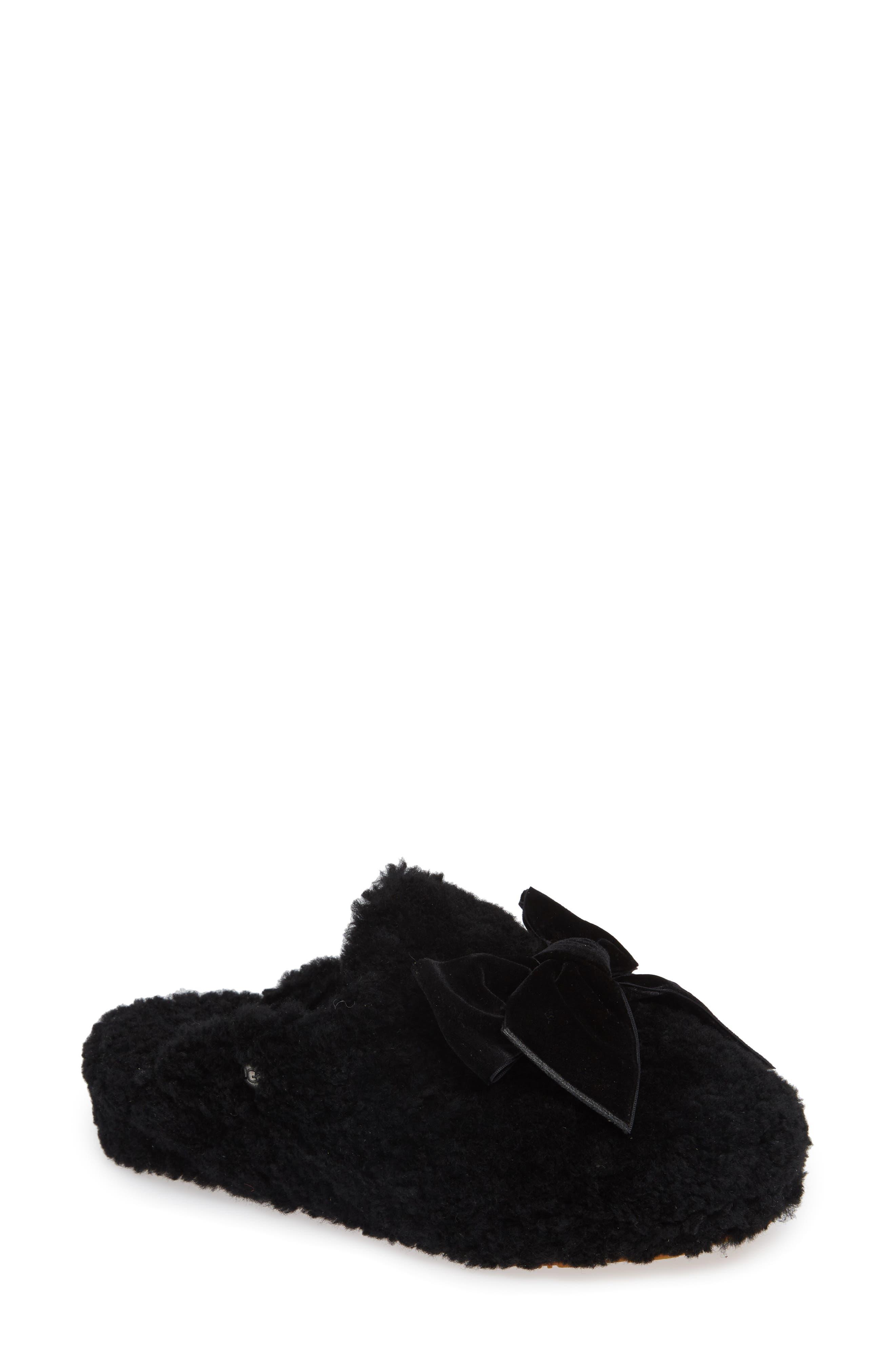 Addison Velvet-Bow Curly Sheepskin Slippers in Black