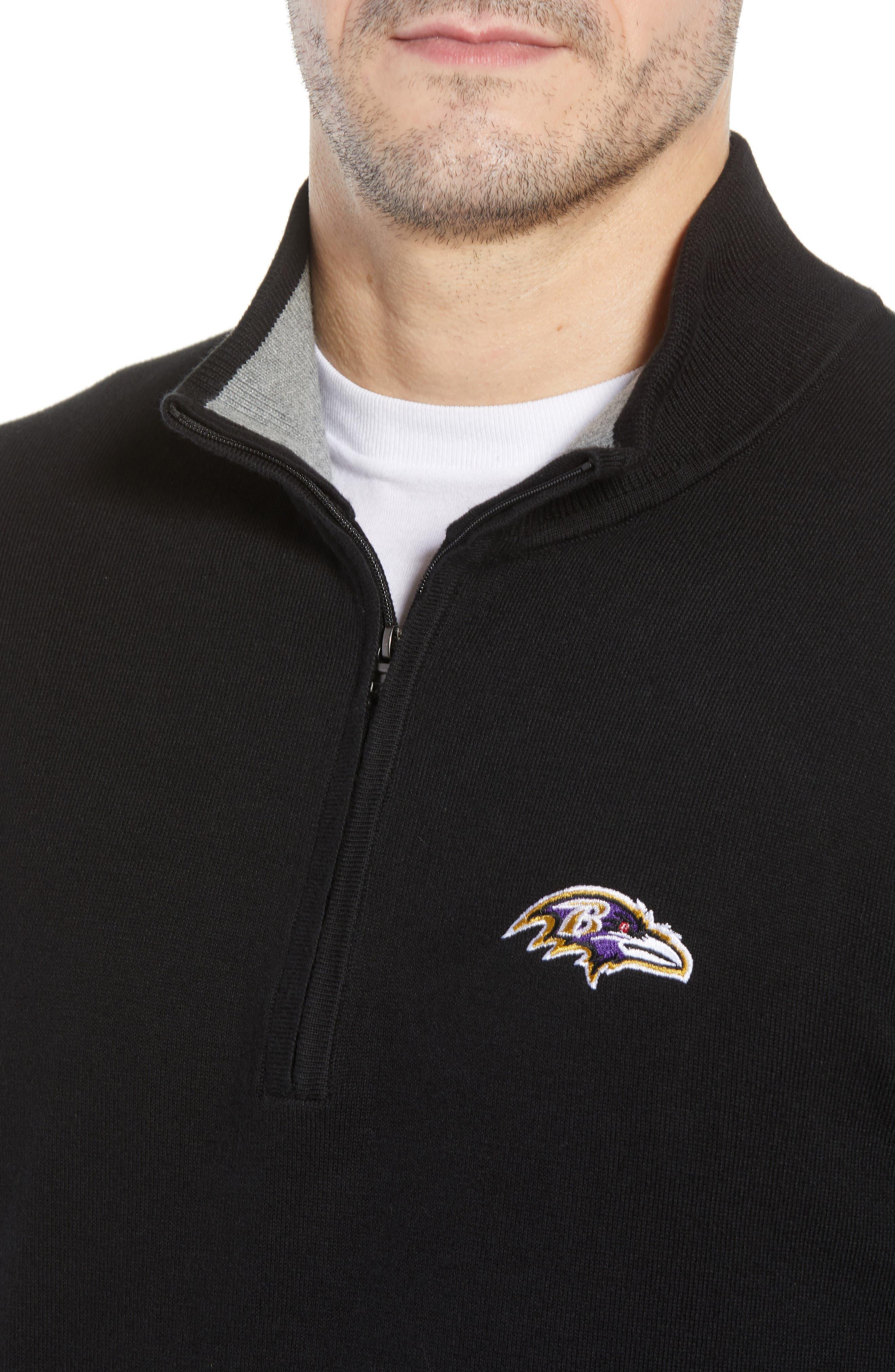 Baltimore Ravens - Lakemont Regular Fit Quarter Zip Sweater,                             Alternate thumbnail 4, color,                             BLACK