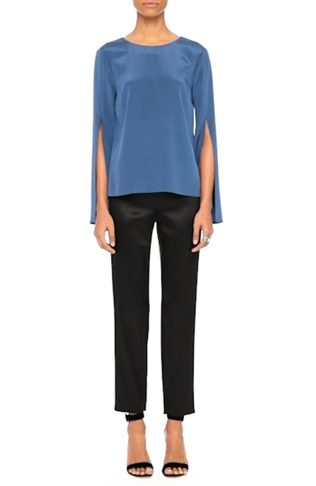 Back Bow Stretch Silk Blouse,                             Alternate thumbnail 7, color,