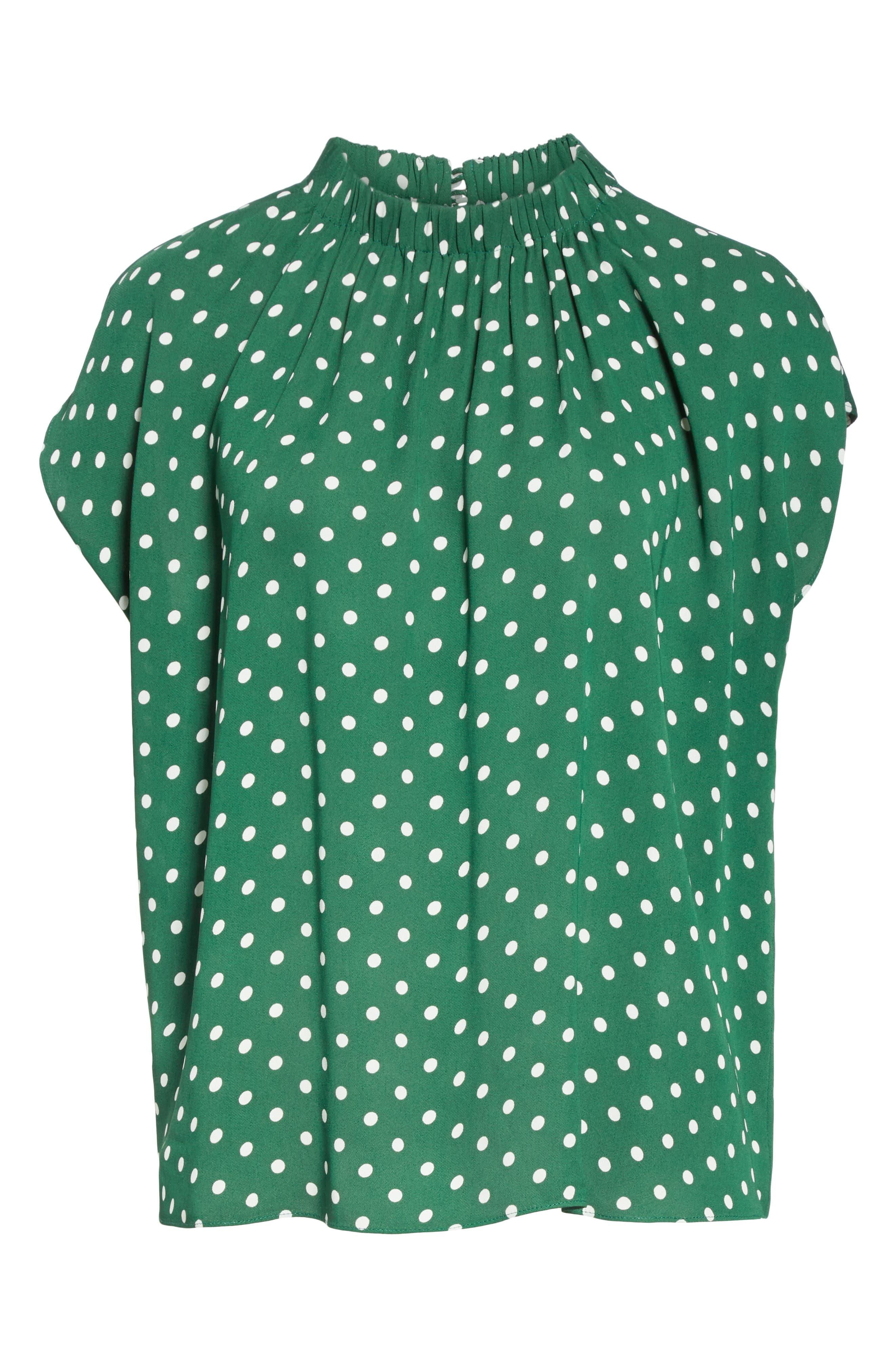 Polka Dot Short Sleeve Top,                             Alternate thumbnail 6, color,                             GREEN EDEN PETITE DOT