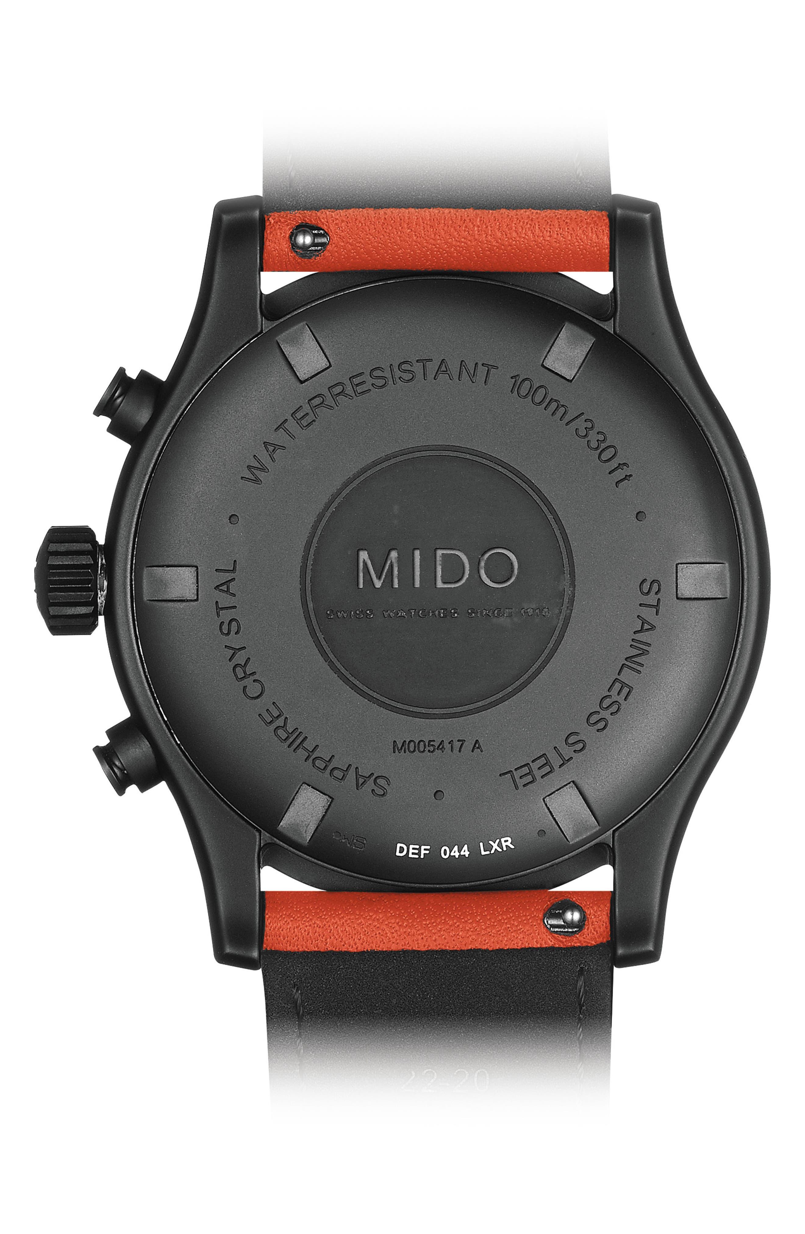 Multifort Chronograph Leather Strap Watch, 42mm,                             Alternate thumbnail 2, color,                             BLACK/ ORANGE/ SILVER