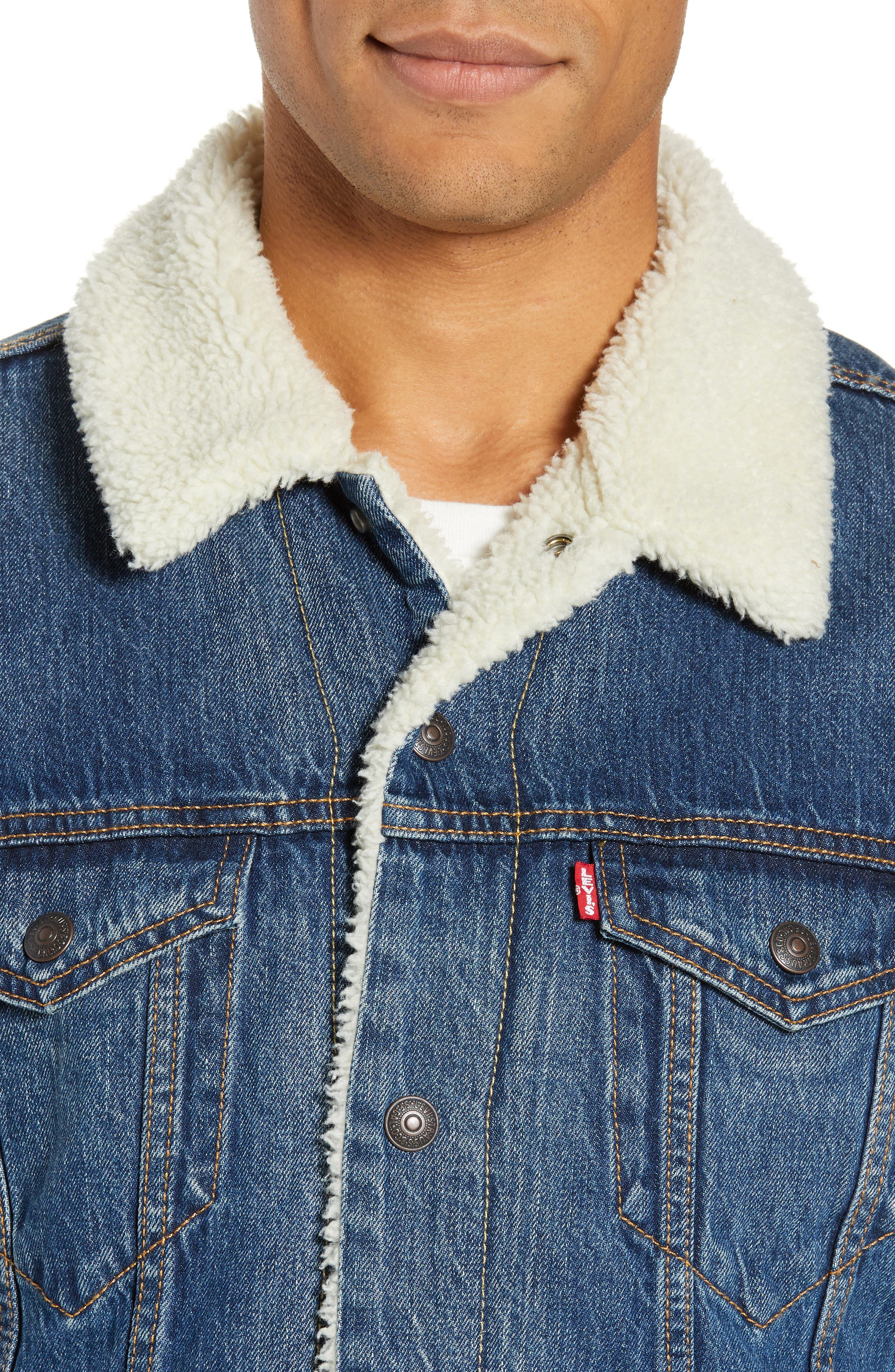 Faux Shearling Trim Denim Trucker Jacket,                             Alternate thumbnail 4, color,                             MAYS