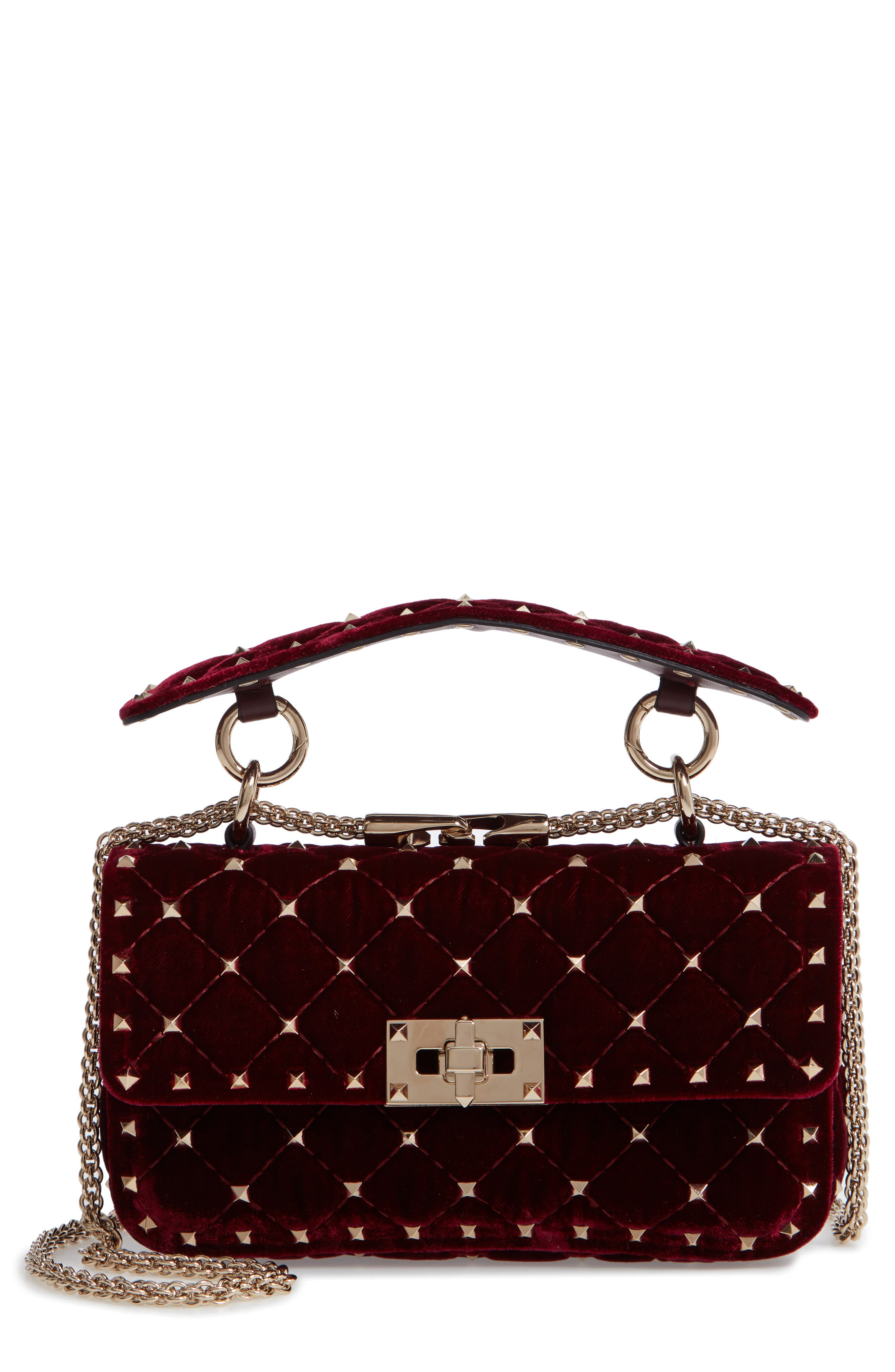 Rockstud Matelassé Velvet Small Shoulder Bag,                         Main,                         color, RUBINO