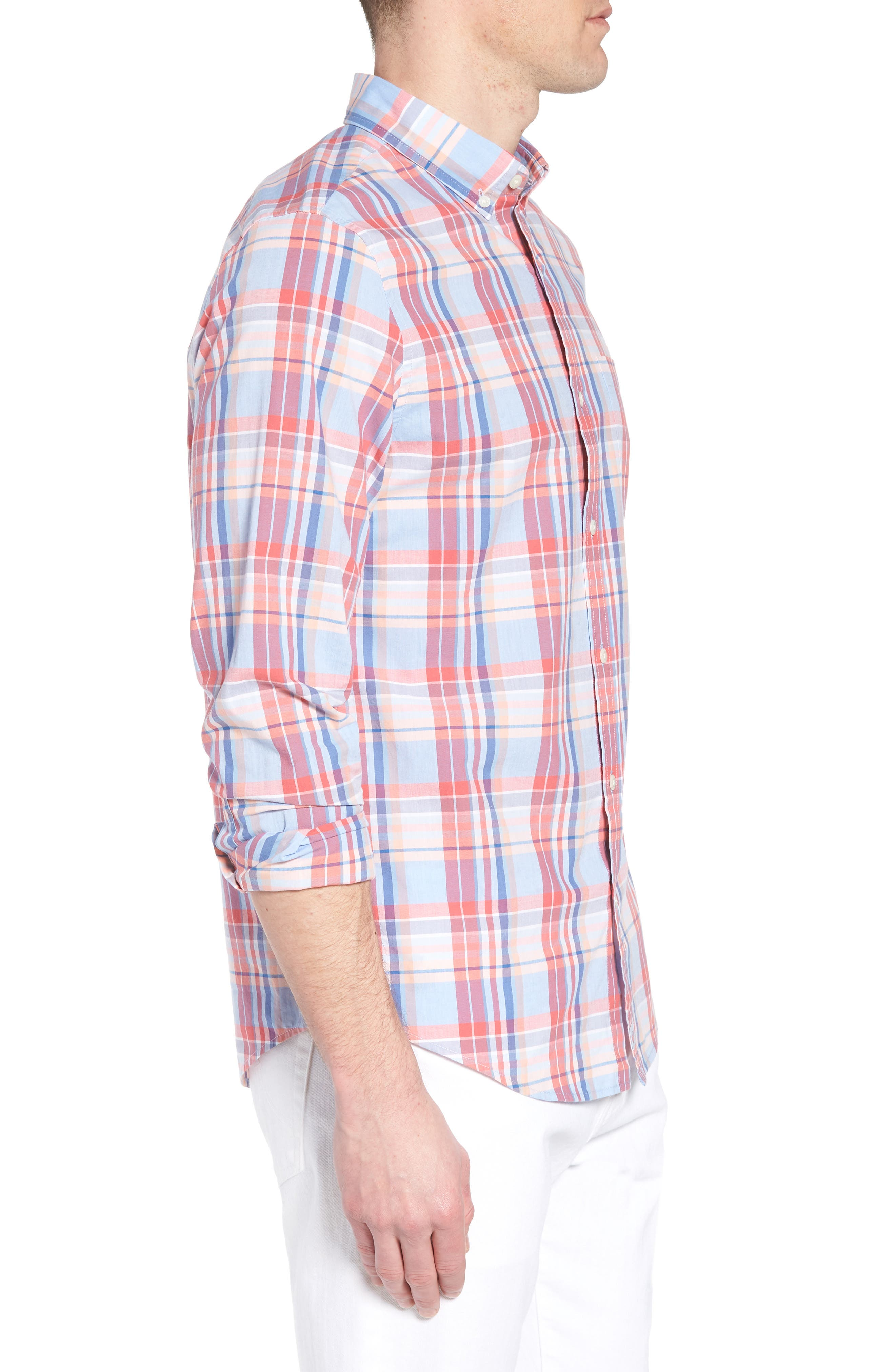 Fox Town Slim Fit Plaid Sport Shirt,                             Alternate thumbnail 3, color,                             628