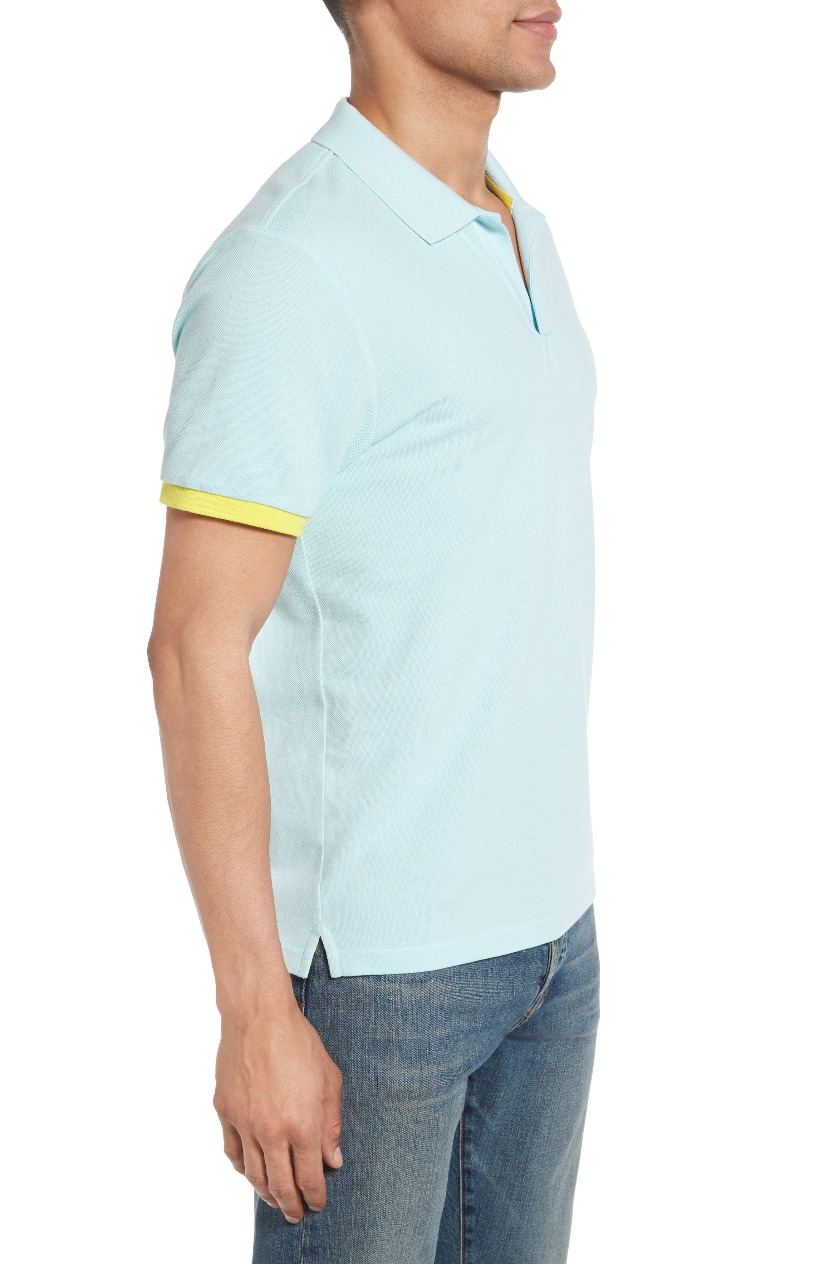 Contrast Cuff Piqué Polo,                             Alternate thumbnail 3, color,                             FROSTED BLUE