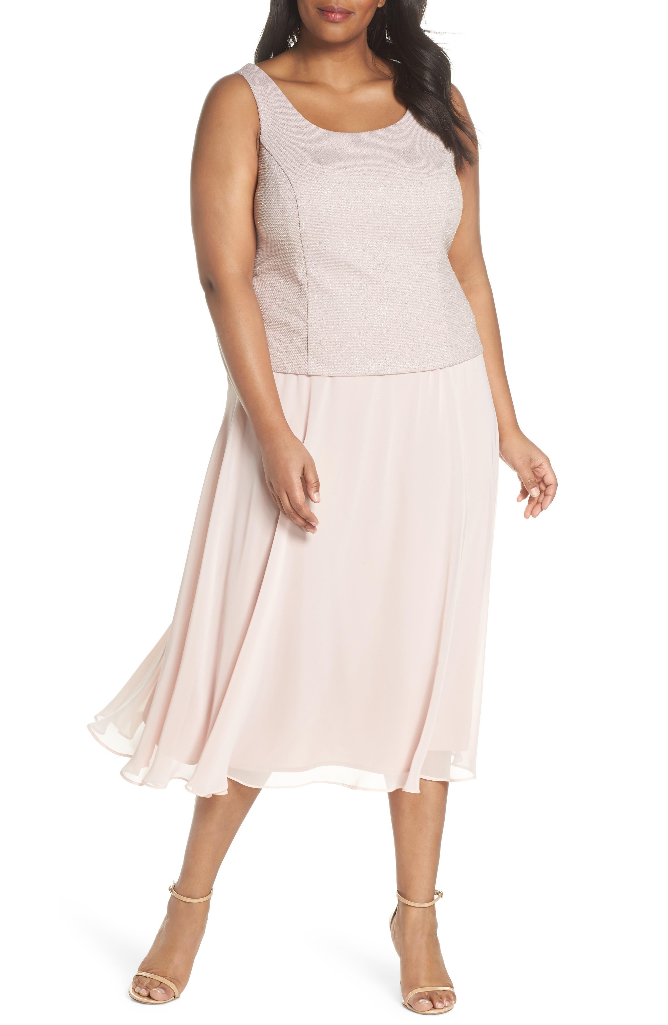 Glitter Tea Length A-Line Dress with Jacket,                             Alternate thumbnail 3, color,                             680