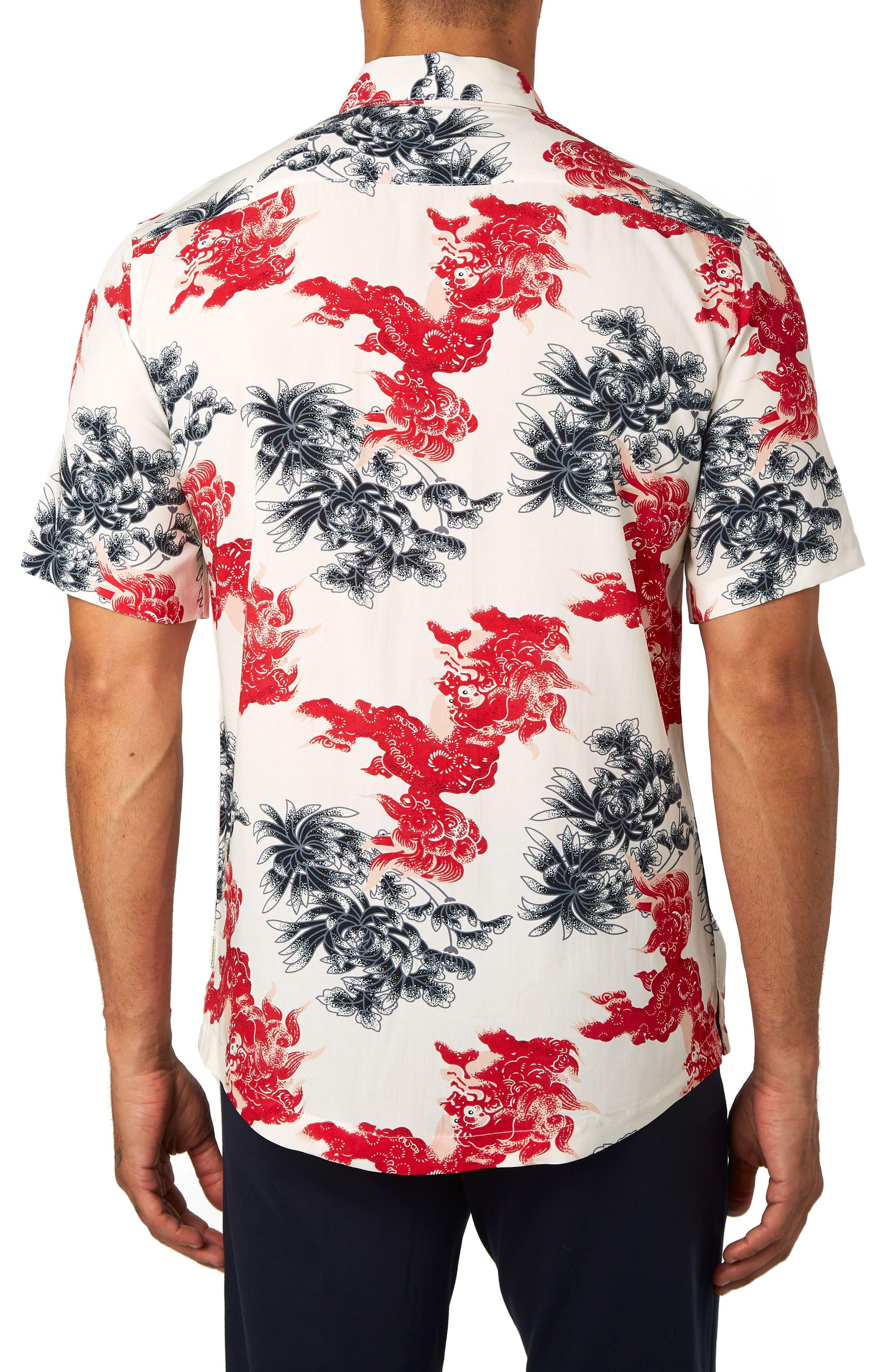 Habanero Trim Fit Print Sport Shirt,                             Alternate thumbnail 3, color,                             600
