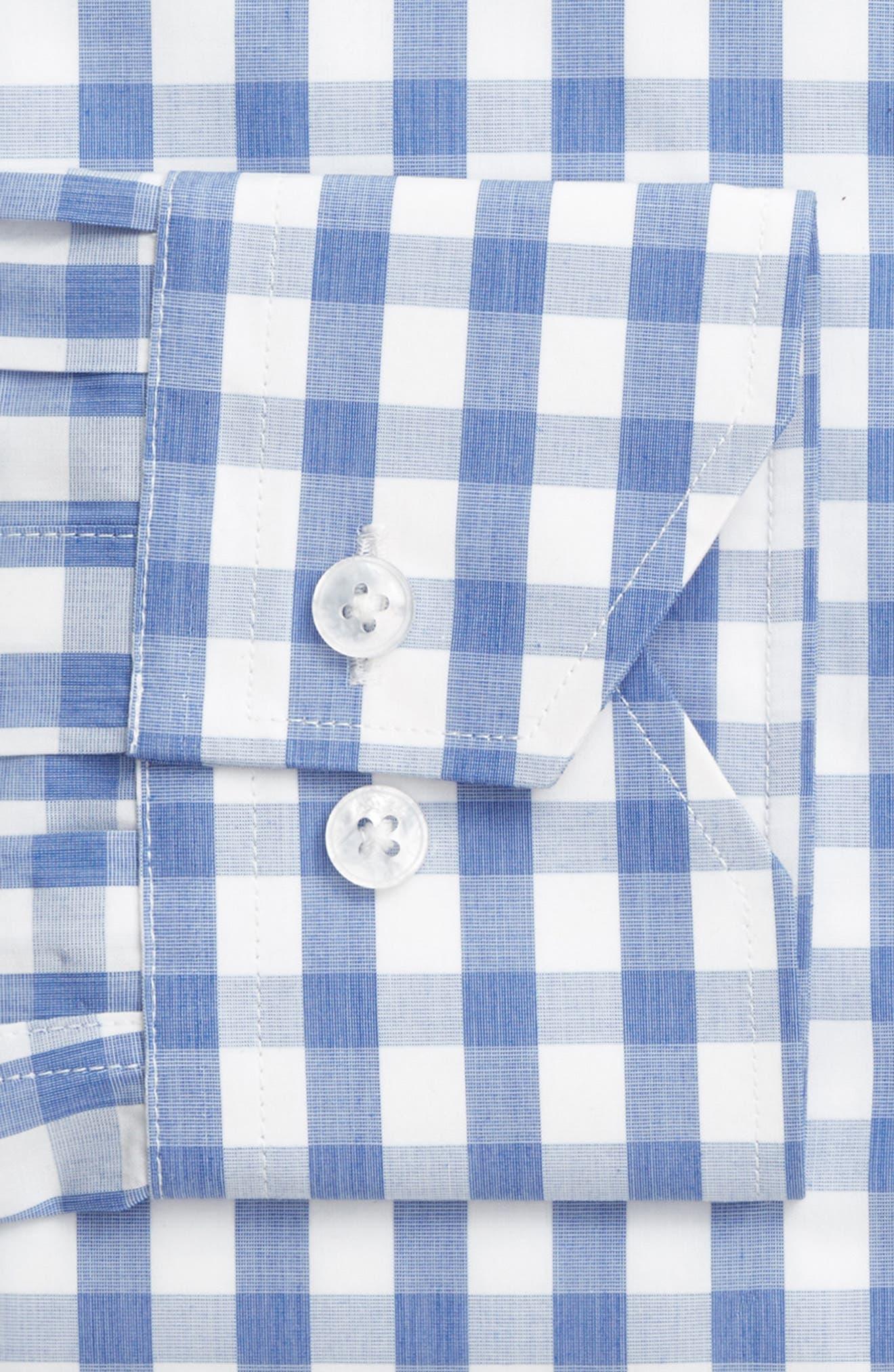 Trim Fit Check Dress Shirt,                             Alternate thumbnail 4, color,                             450