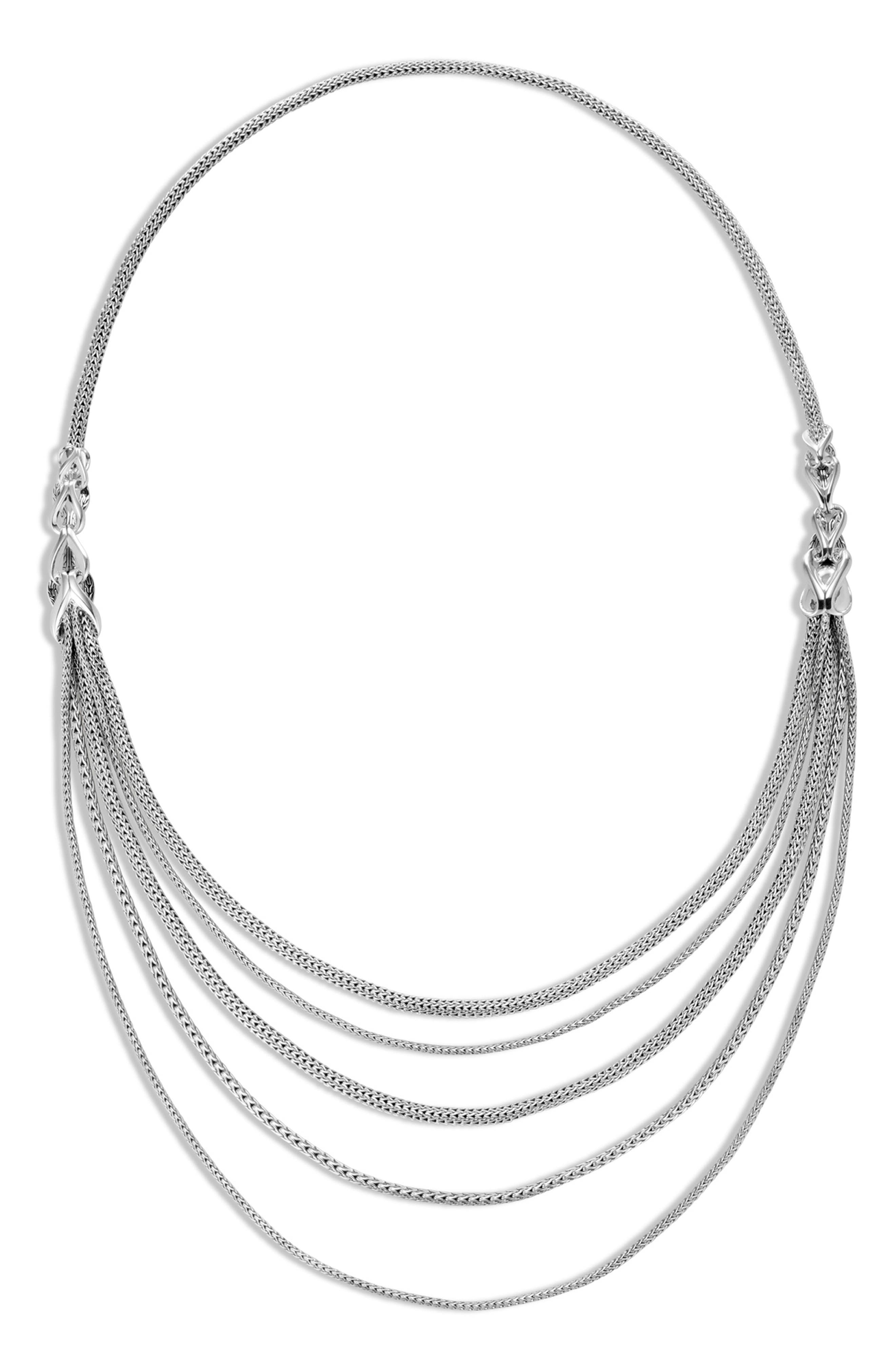 Asli Classic Chain Link Bib Necklace,                             Alternate thumbnail 4, color,                             SILVER