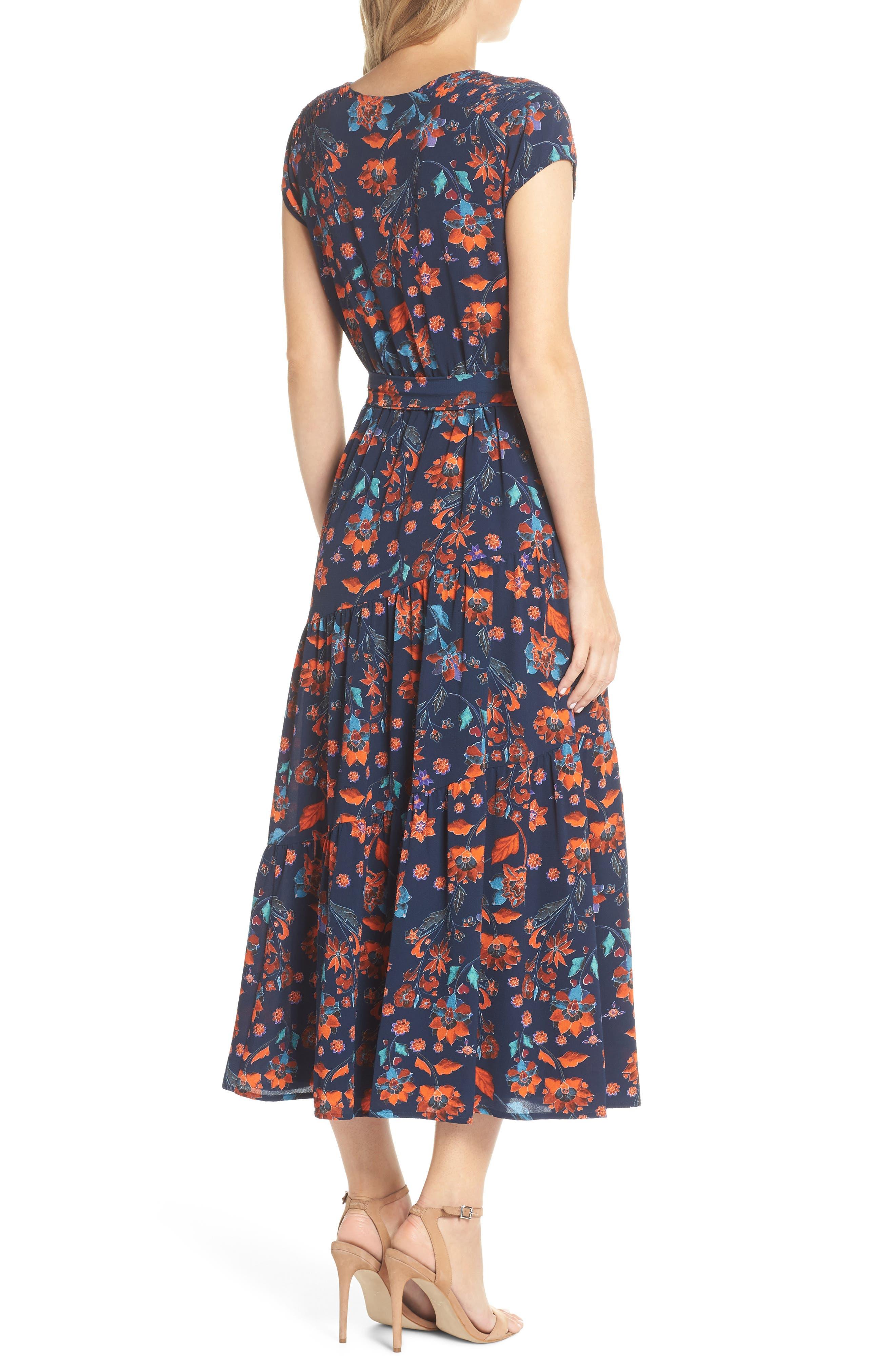 Smock Shoulder Floral Crepe Midi Dress,                             Alternate thumbnail 2, color,                             NAVY/ RED