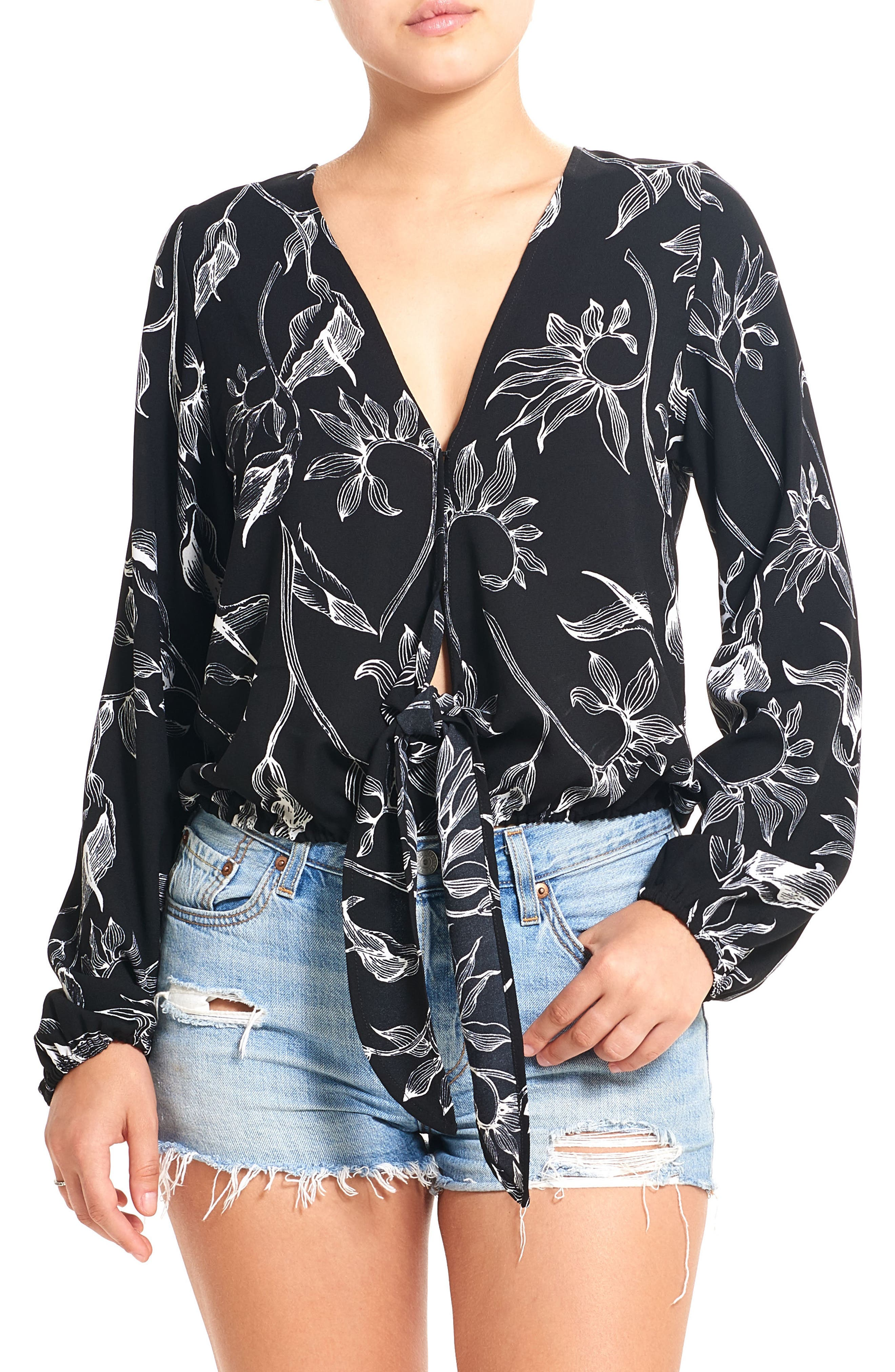 Print Tie Front Top,                         Main,                         color, 001