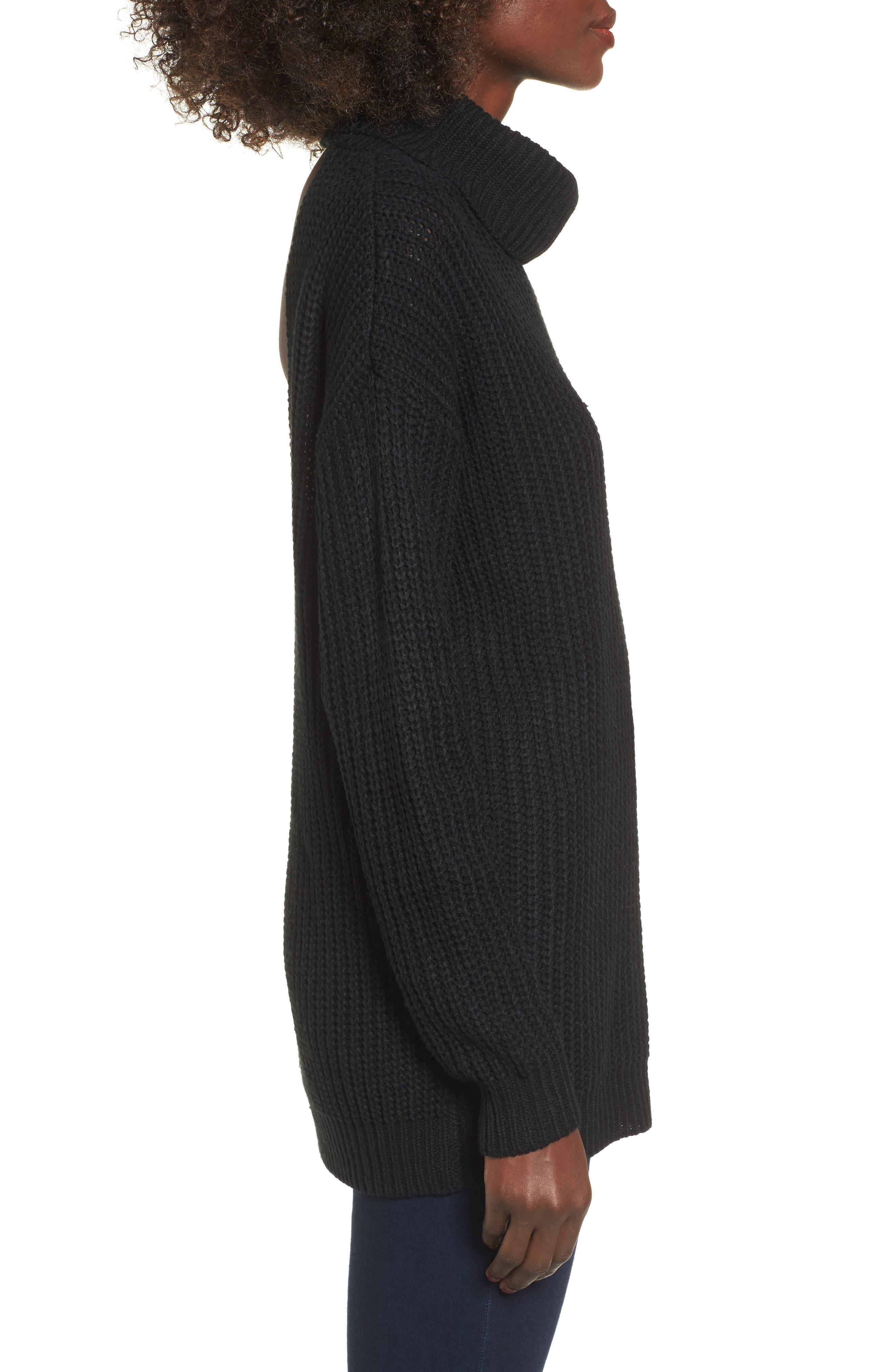 Sonya Open Back Sweater,                             Alternate thumbnail 3, color,                             001
