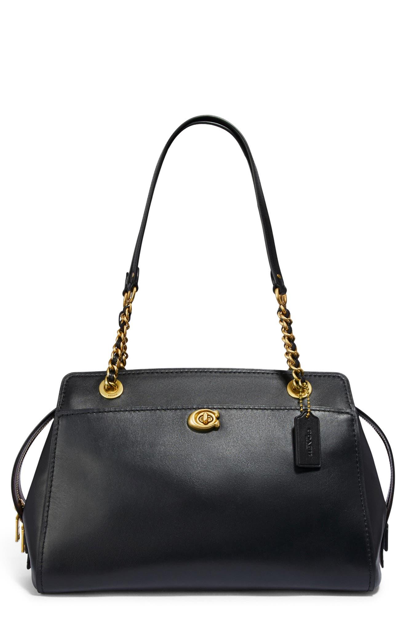 COACH,                             Parker Leather Shoulder Bag,                             Main thumbnail 1, color,                             BLACK