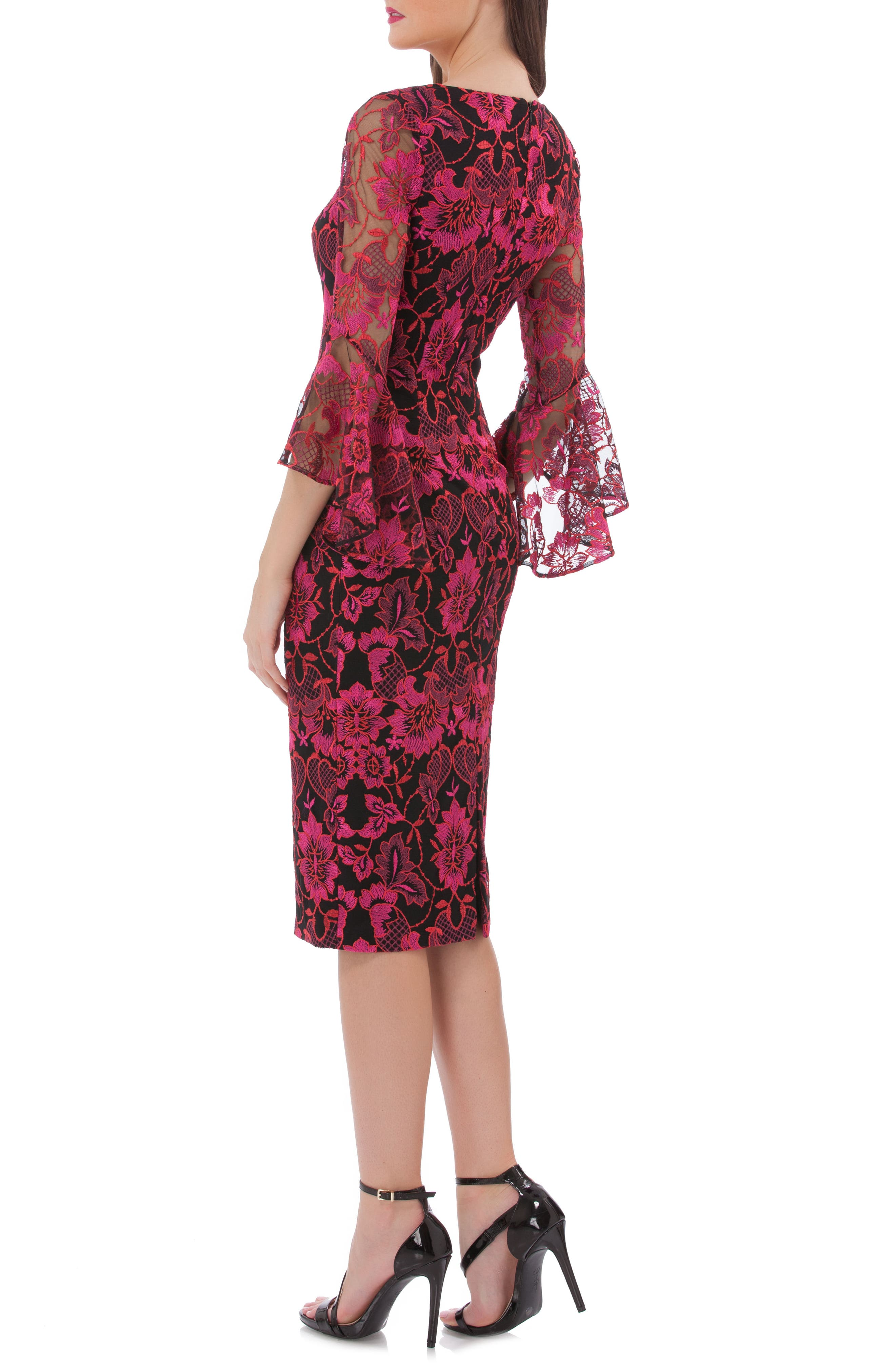 CARMEN MARC VALVO INFUSION,                             Embroidered Sheath Dress,                             Alternate thumbnail 2, color,                             RED MULTI