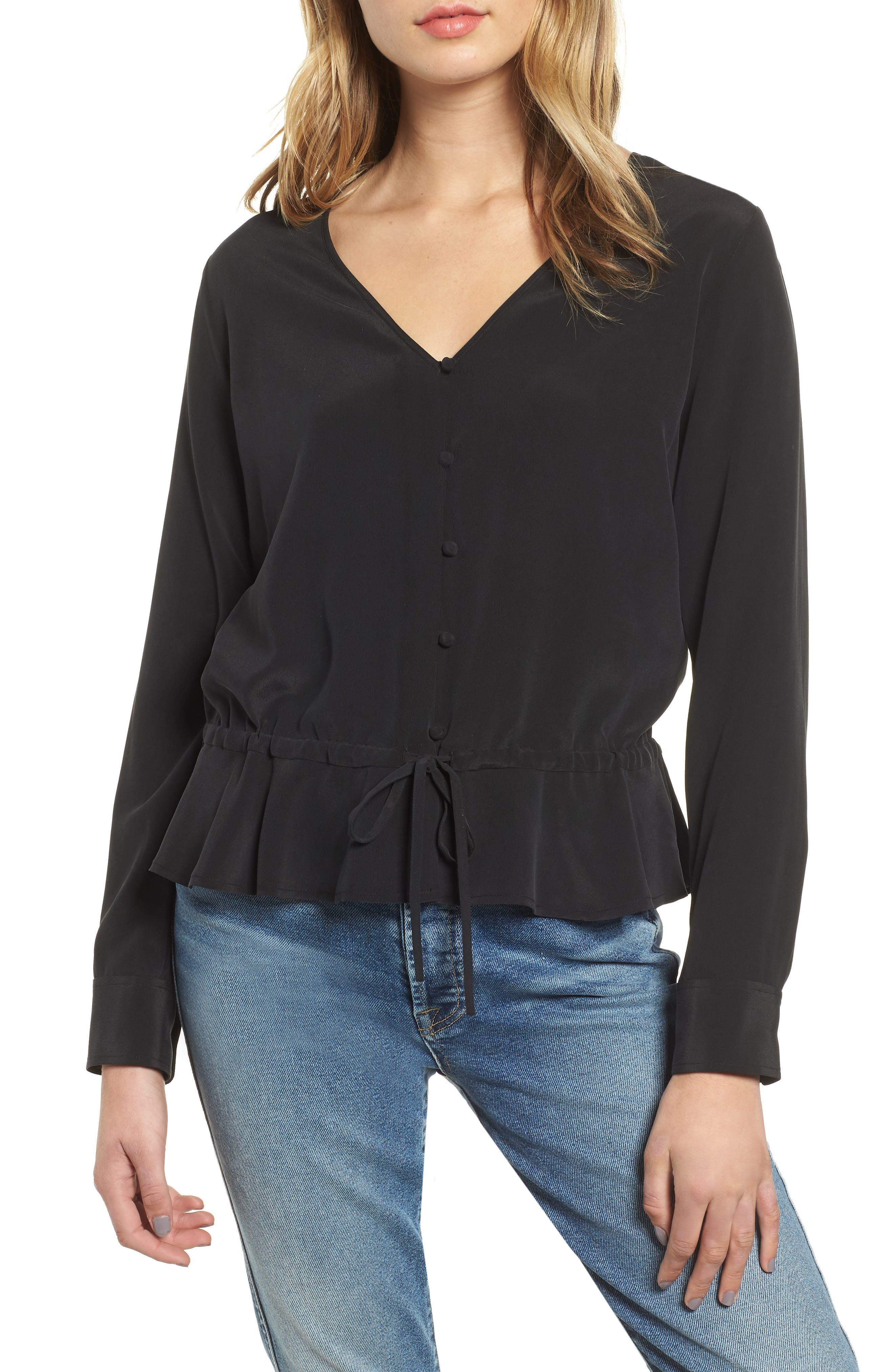 Beaux Ruffle Waist Blouse,                         Main,                         color, BLACK