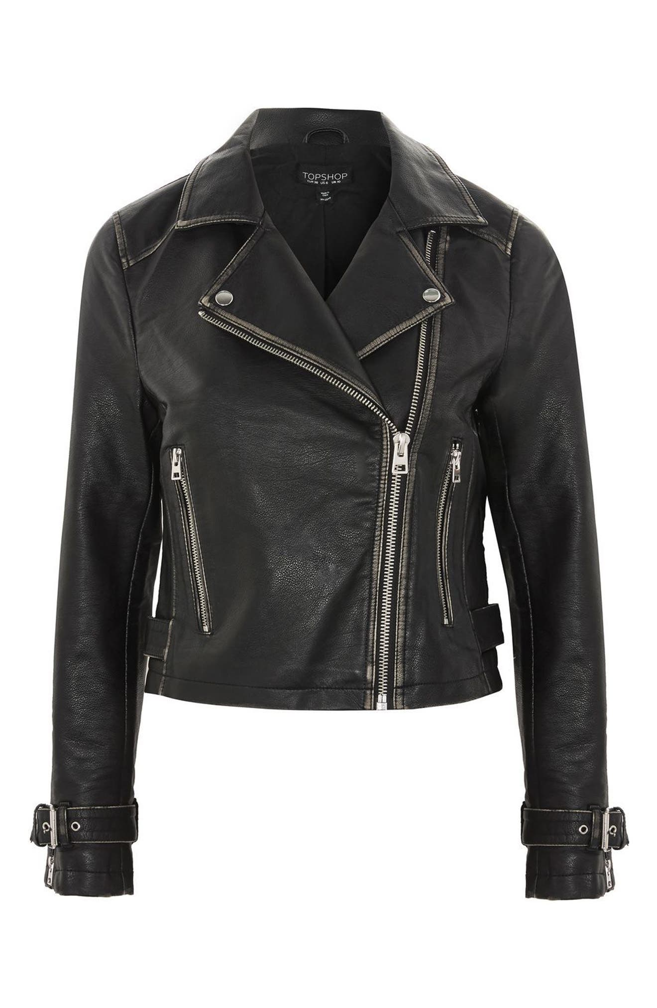 Washed Wolf Zipper Moto Jacket,                             Alternate thumbnail 3, color,                             001