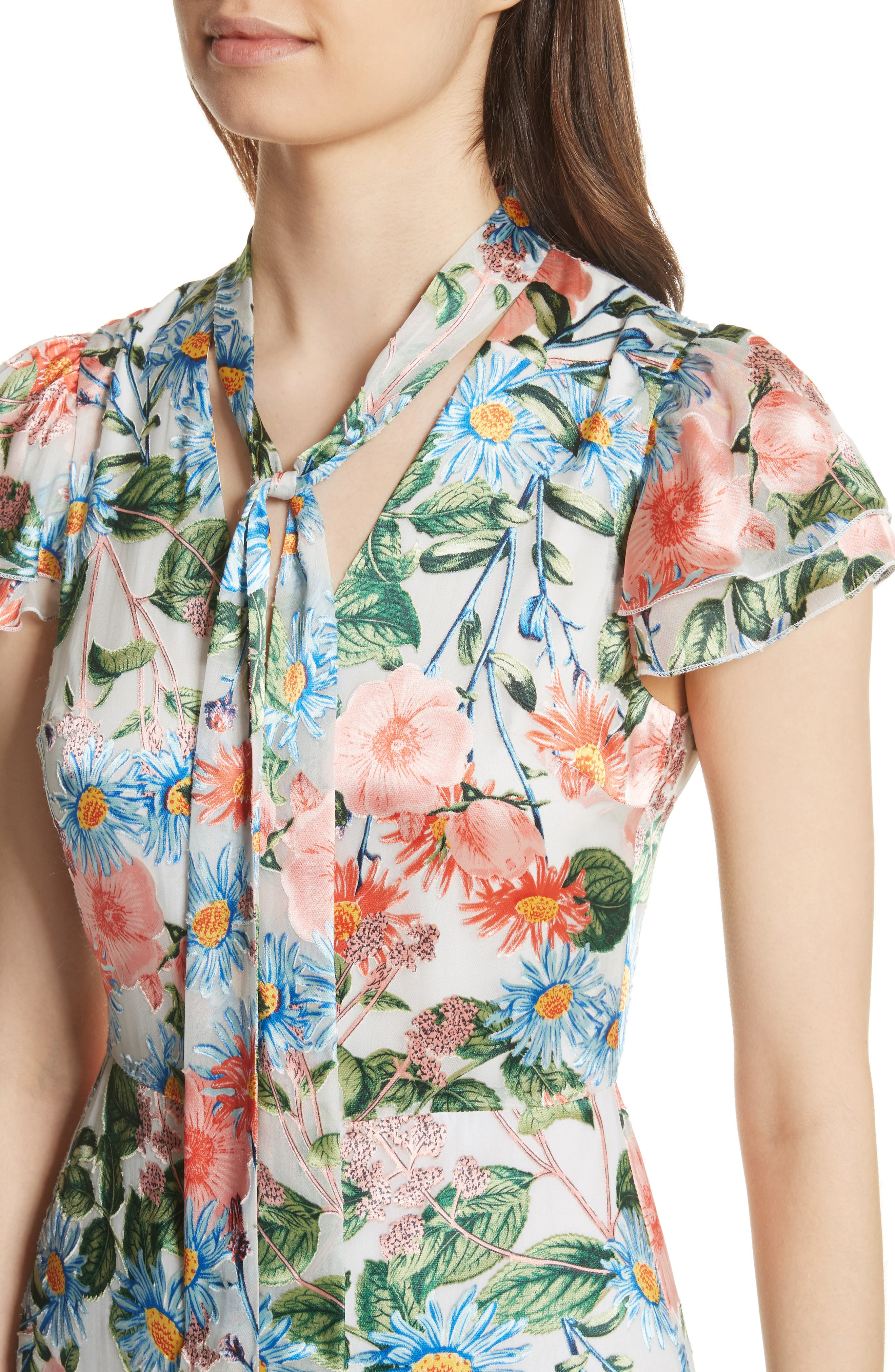 Macall Floral Ruffle Sleeve Romper,                             Alternate thumbnail 4, color,                             400