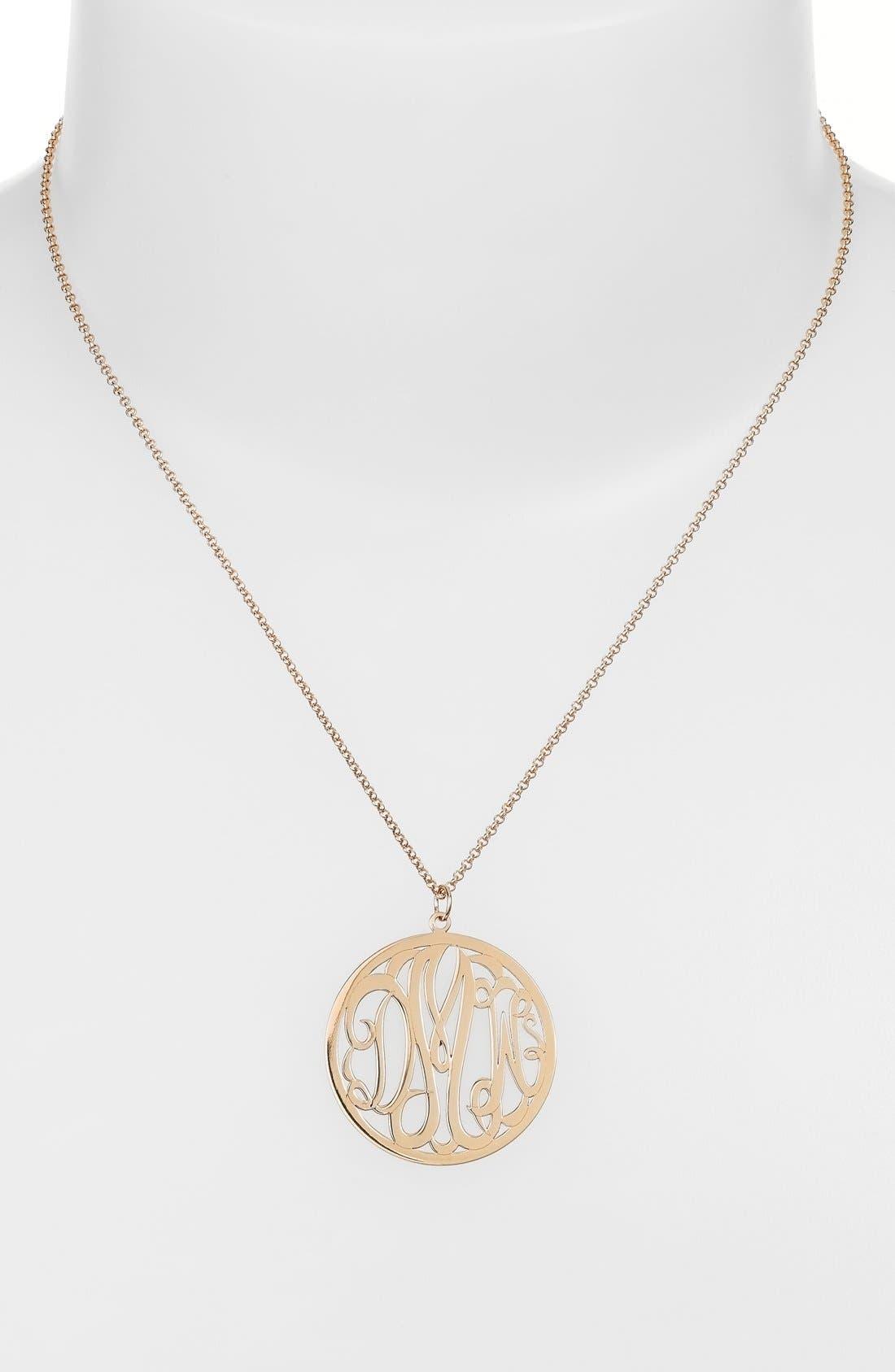 Personalized 3-Letter Monogram Necklace,                             Alternate thumbnail 2, color,                             GOLD