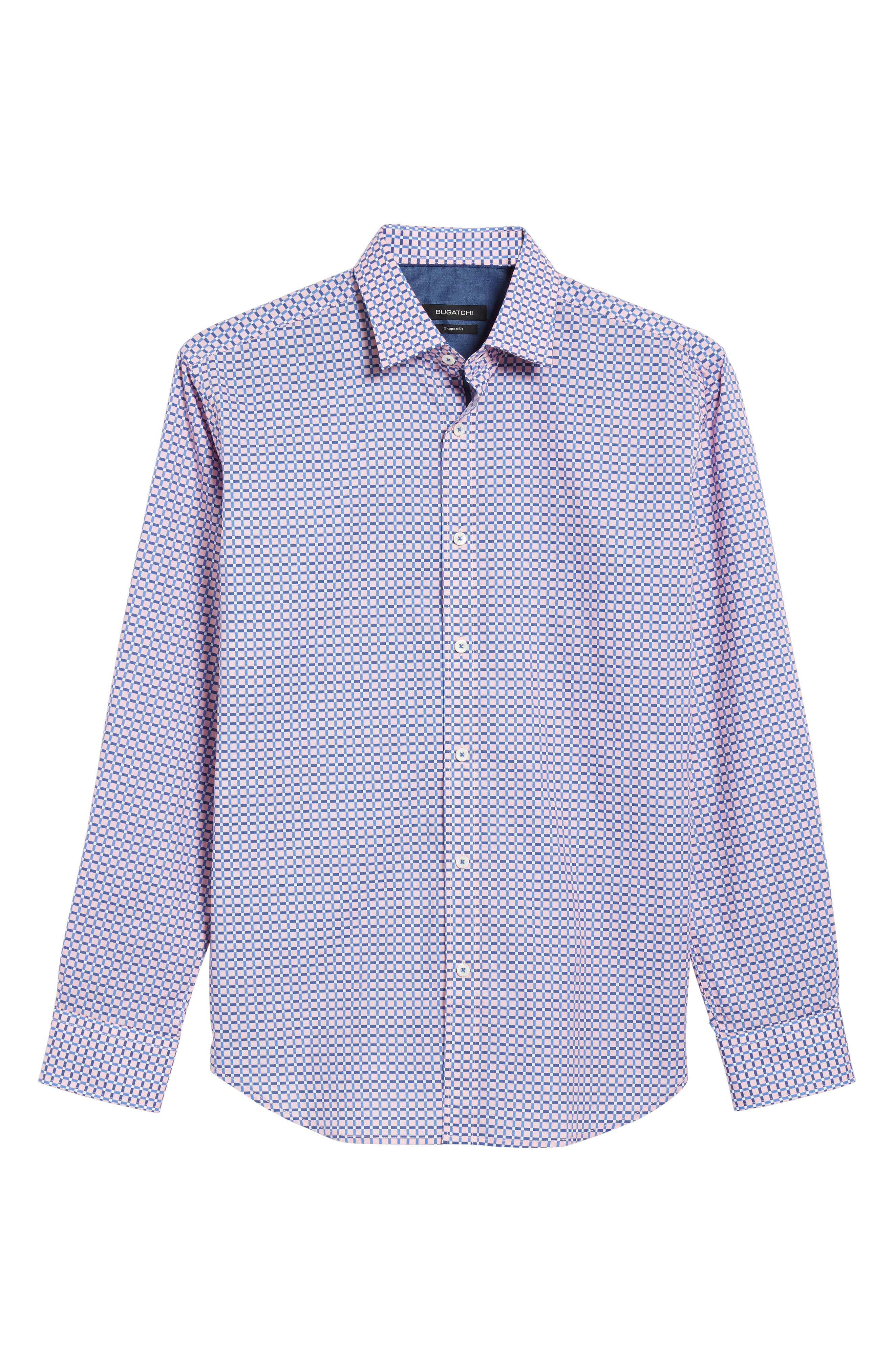 Shaped Fit Grid Print Sport Shirt,                             Alternate thumbnail 6, color,                             682