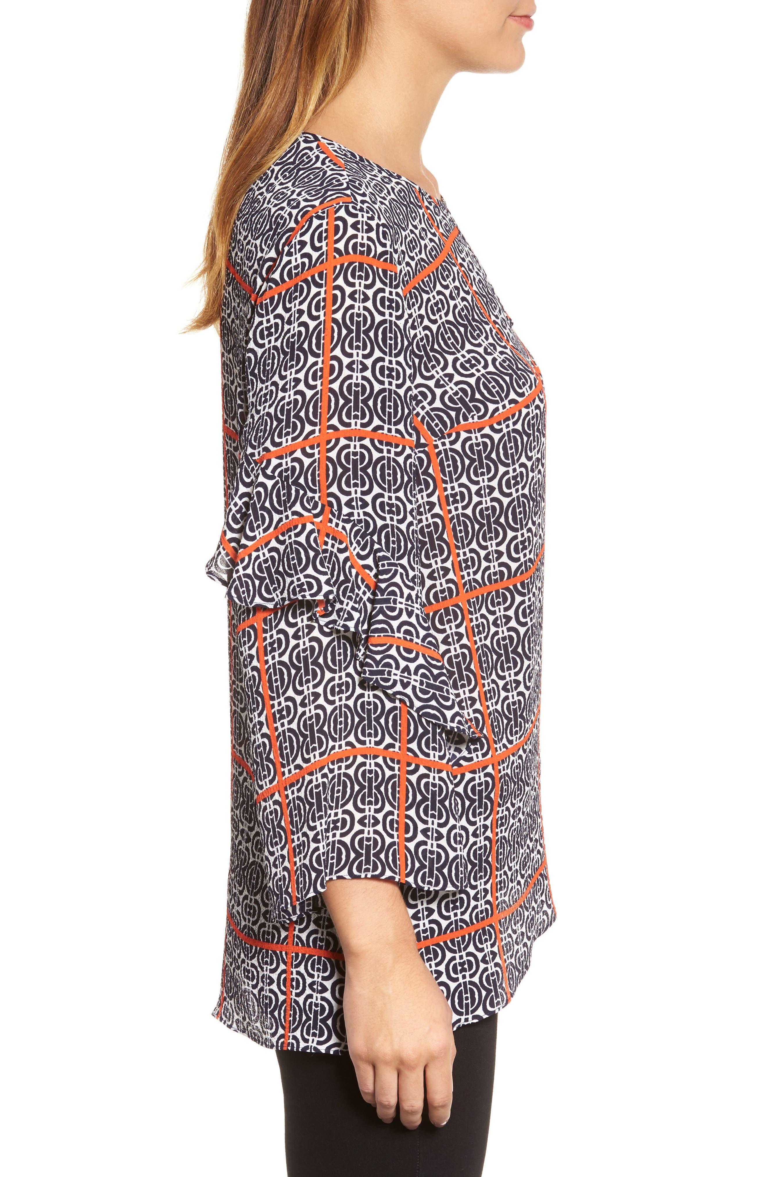 Printed Ruffle Sleeve Blouse,                             Alternate thumbnail 3, color,                             903