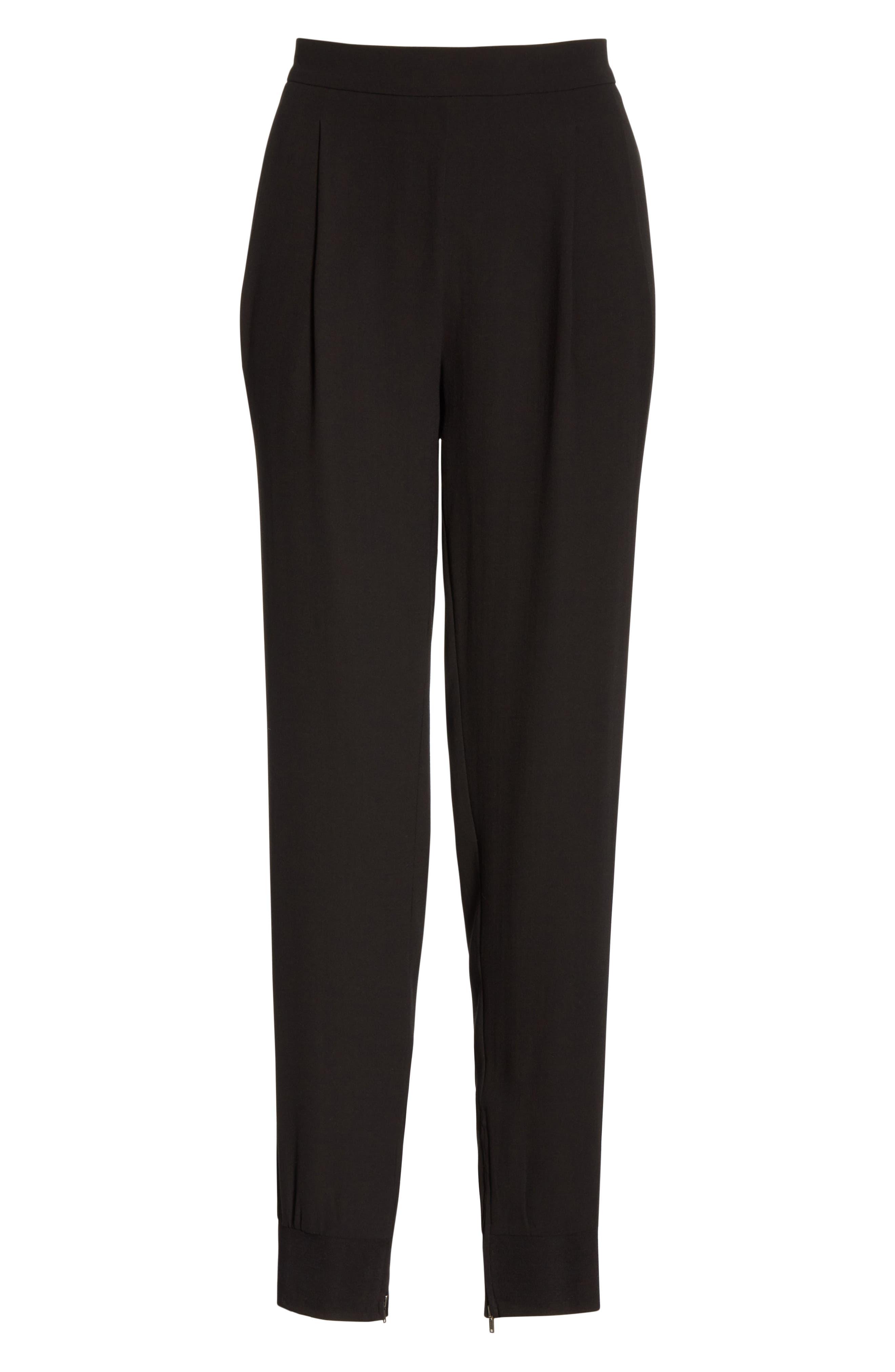 Slouchy Silk Ankle Pants,                             Alternate thumbnail 7, color,                             BLACK