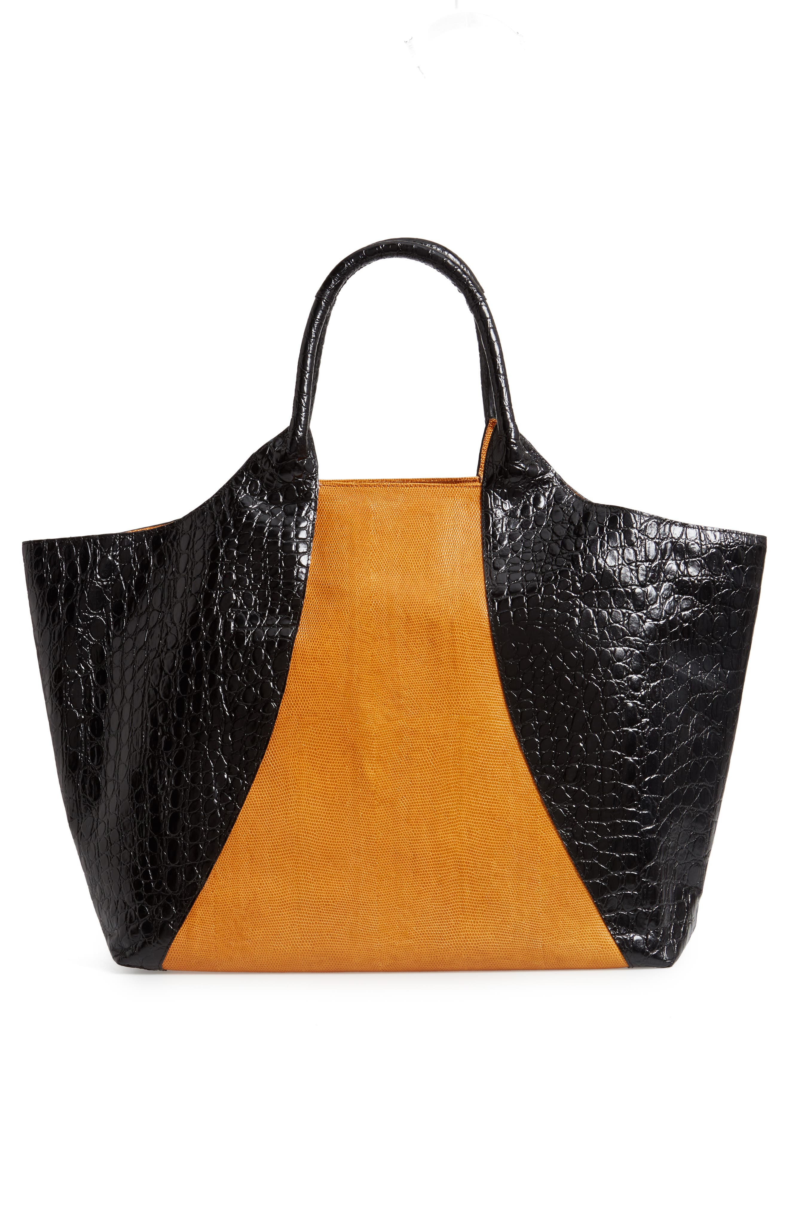 Embossed Leather Tote,                             Alternate thumbnail 3, color,                             BLACK