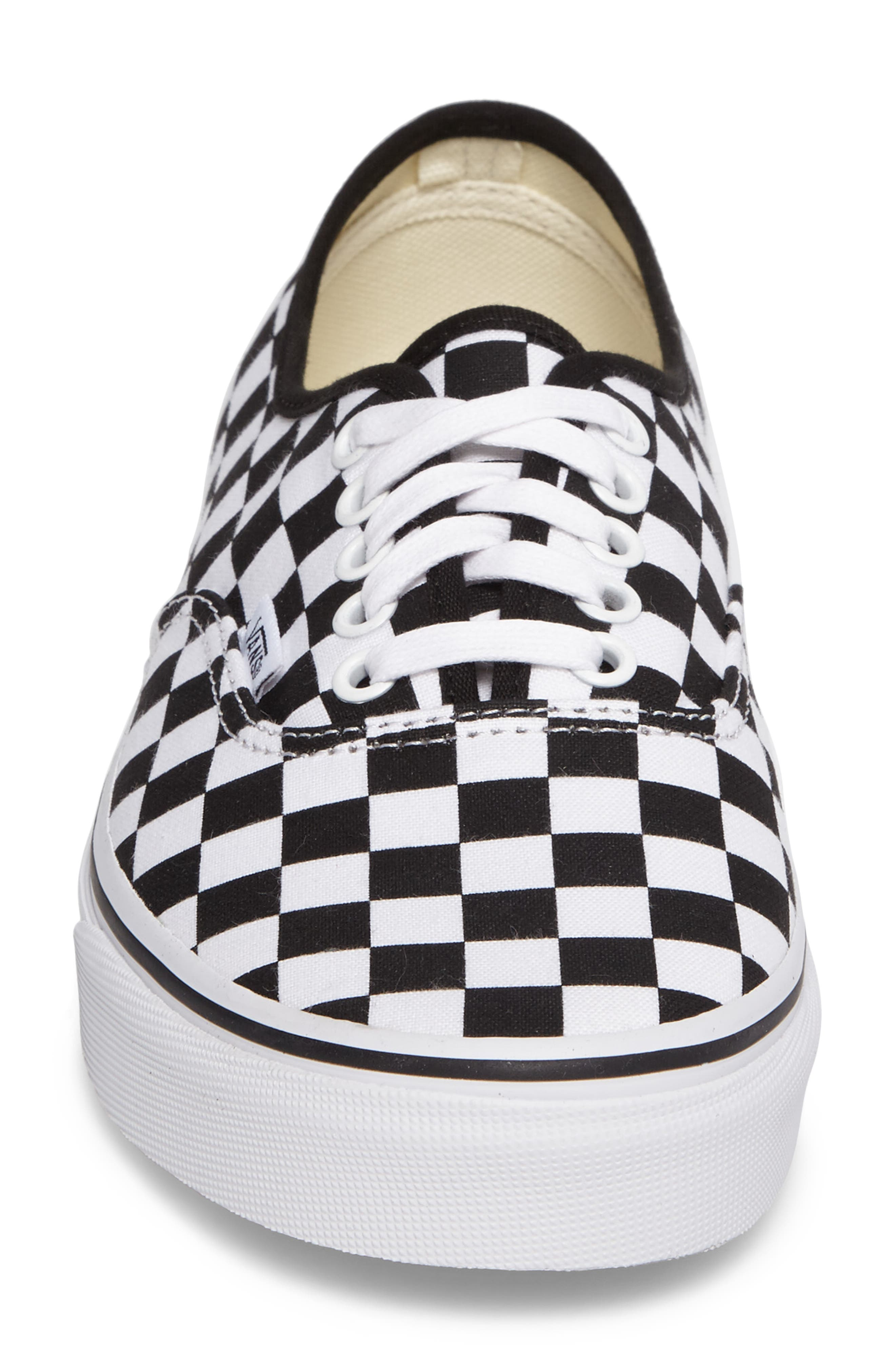 Authentic Sneaker,                             Alternate thumbnail 4, color,                             BLACK/ WHITE CHECKERBOARD