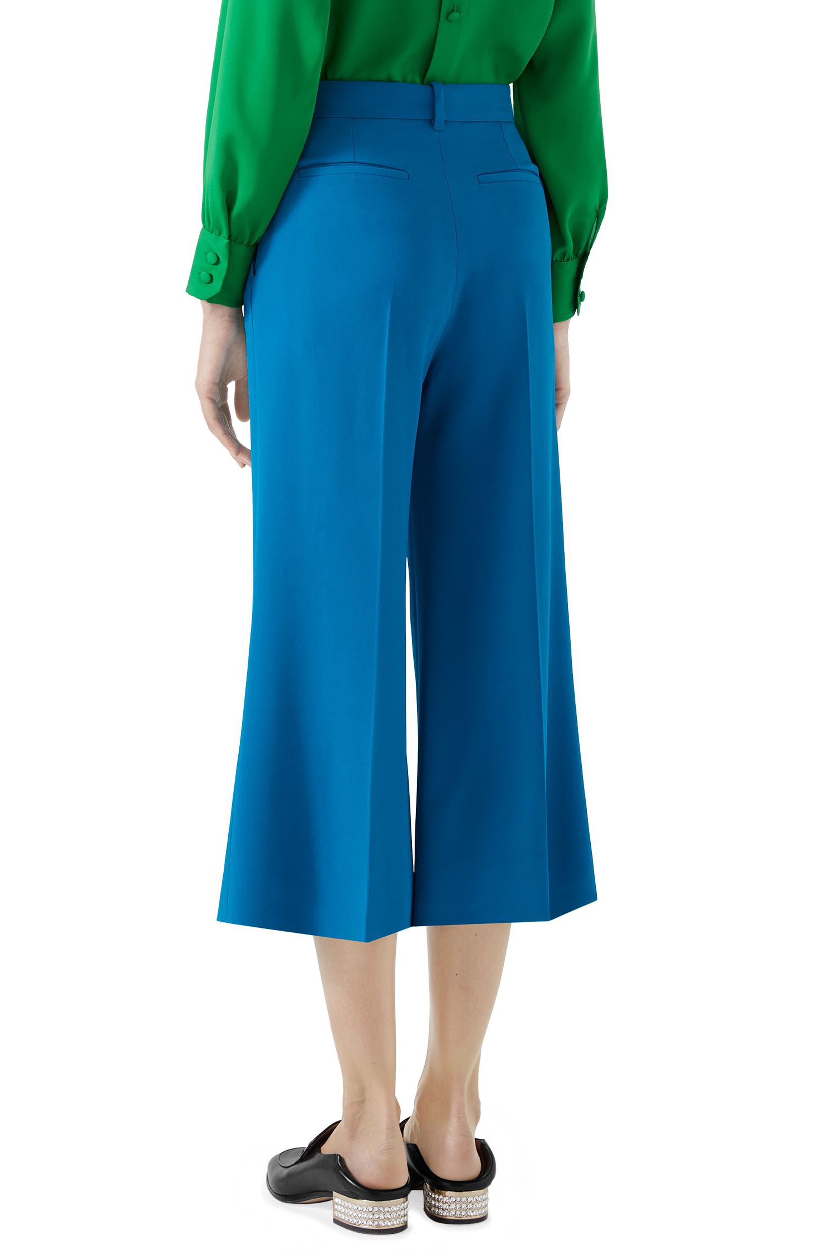 Stretch Cady Wide Leg Crop Trousers,                             Alternate thumbnail 2, color,                             TROPICAL BLUE