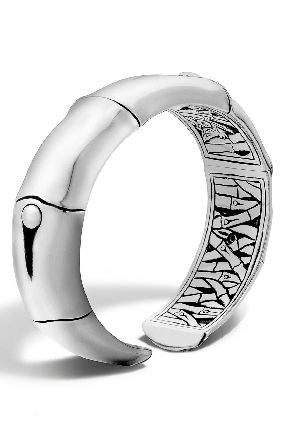'Bamboo' Silver Wrist Cuff,                             Main thumbnail 1, color,                             SILVER