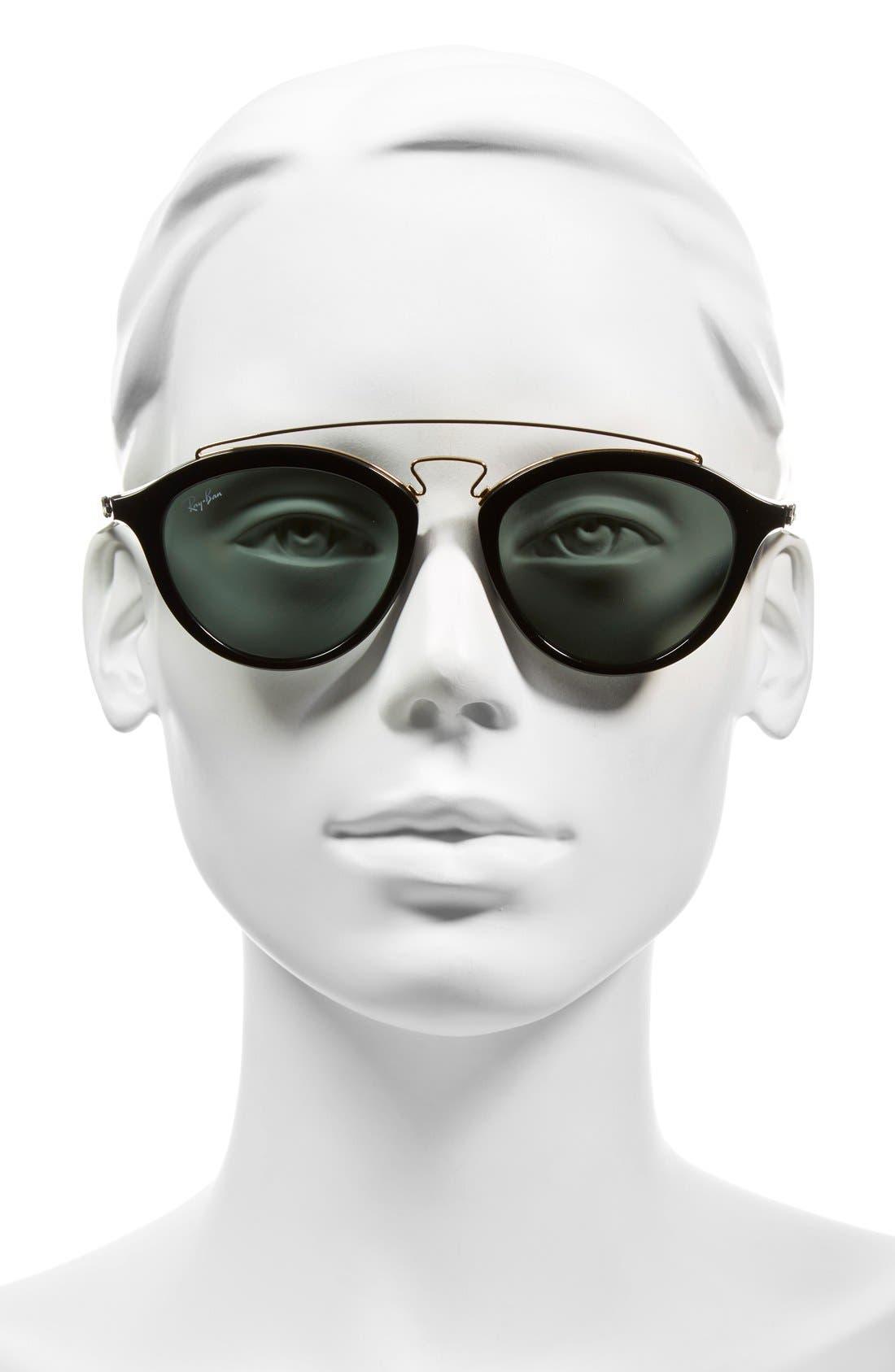 Highstreet 50mm Brow Bar Sunglasses,                             Alternate thumbnail 9, color,