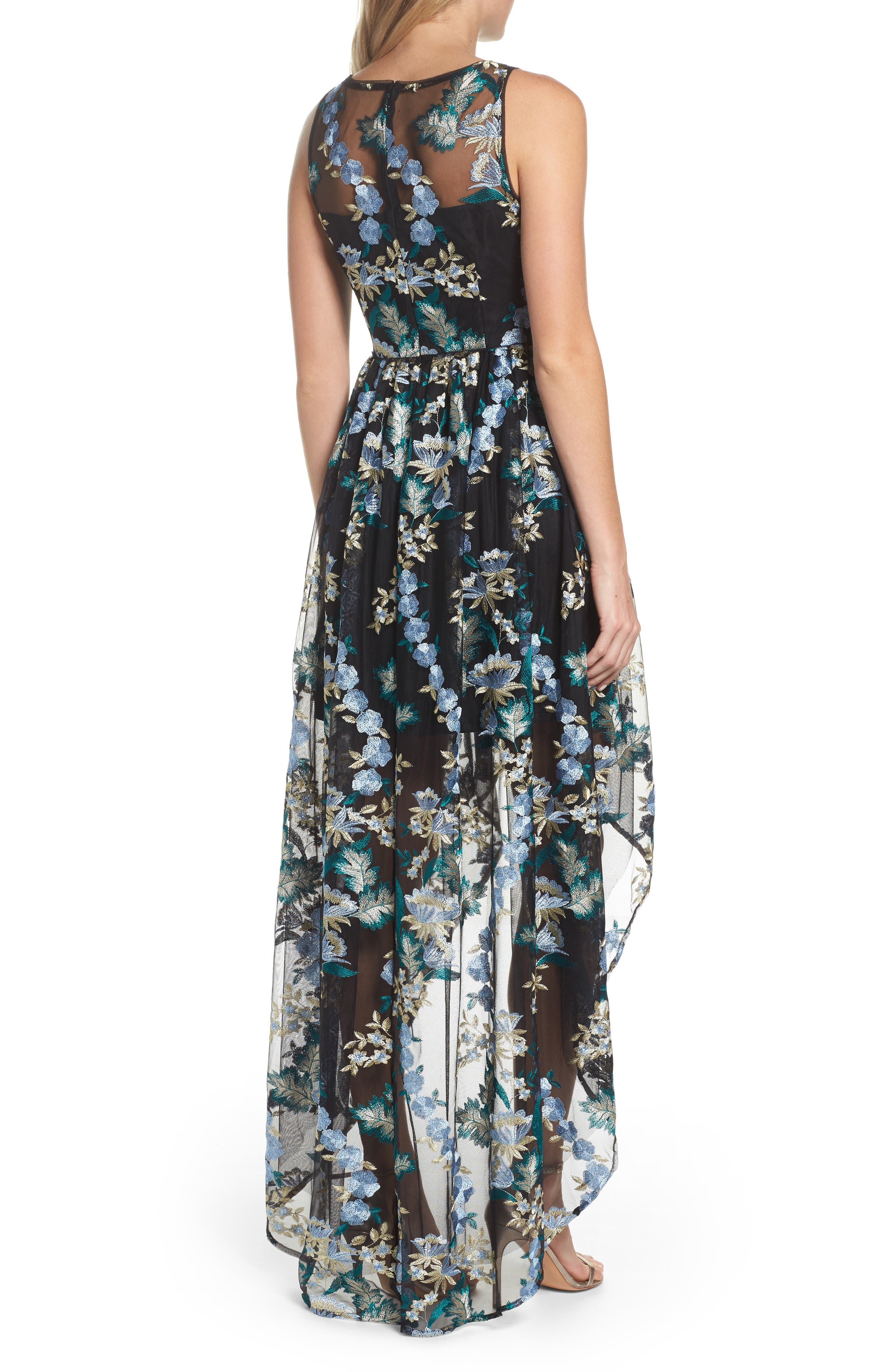 Embroidered Tulle High/Low Dress,                             Alternate thumbnail 2, color,                             010