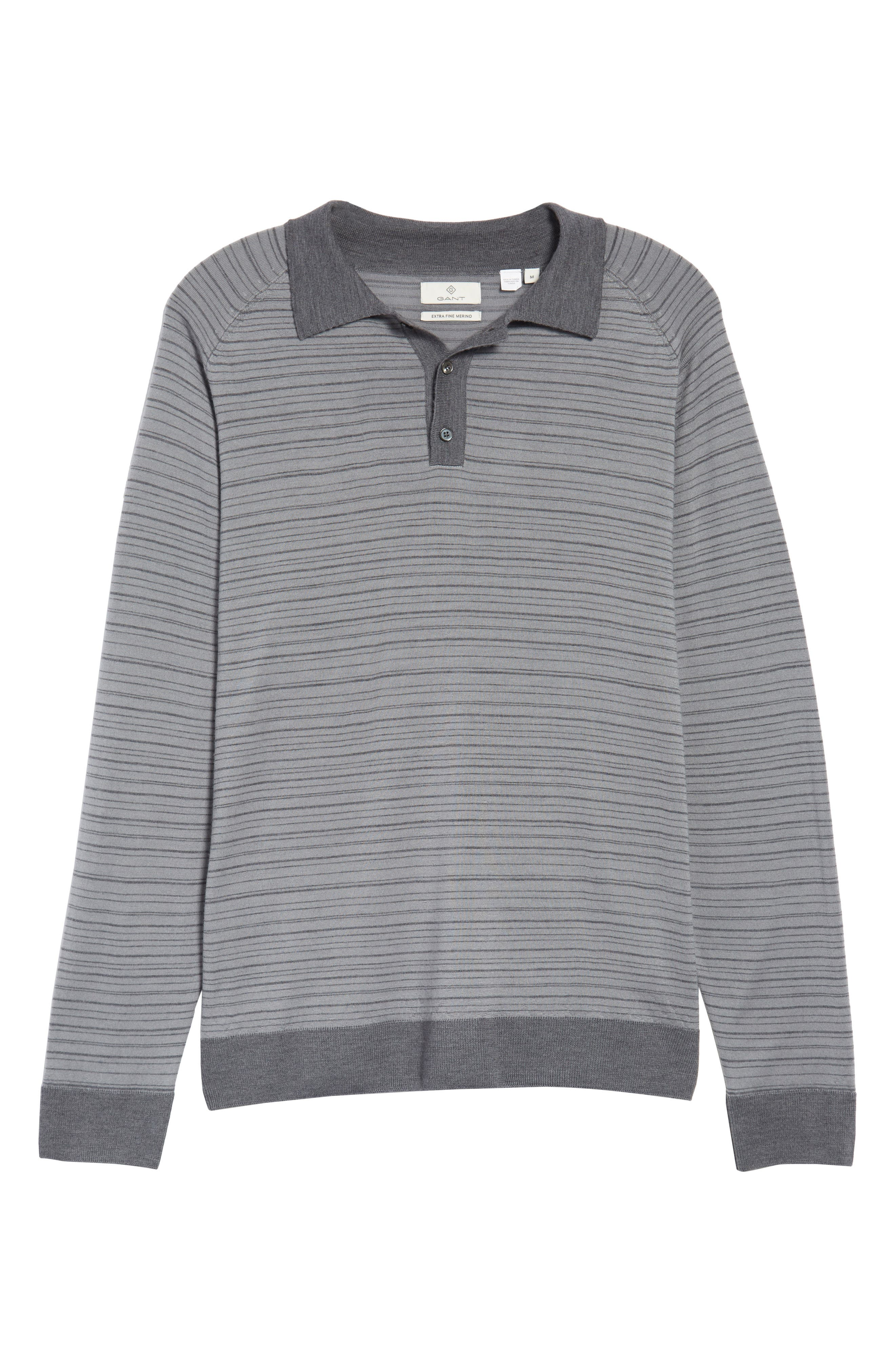 Stripe Merino Wool Polo Sweater,                             Alternate thumbnail 6, color,                             093