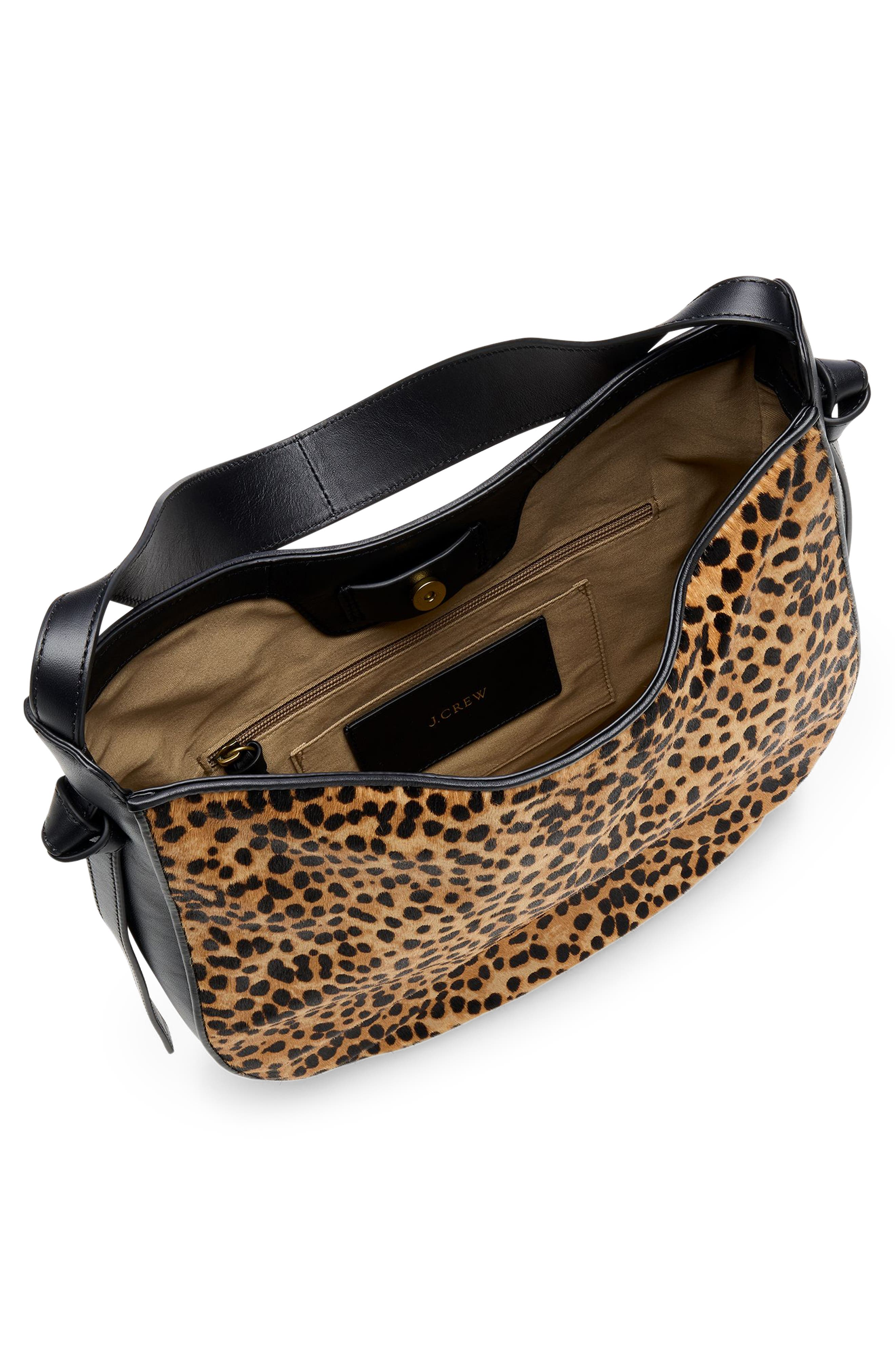 Genuine Calf Hair Hobo,                             Alternate thumbnail 3, color,                             SAHARA BROWN