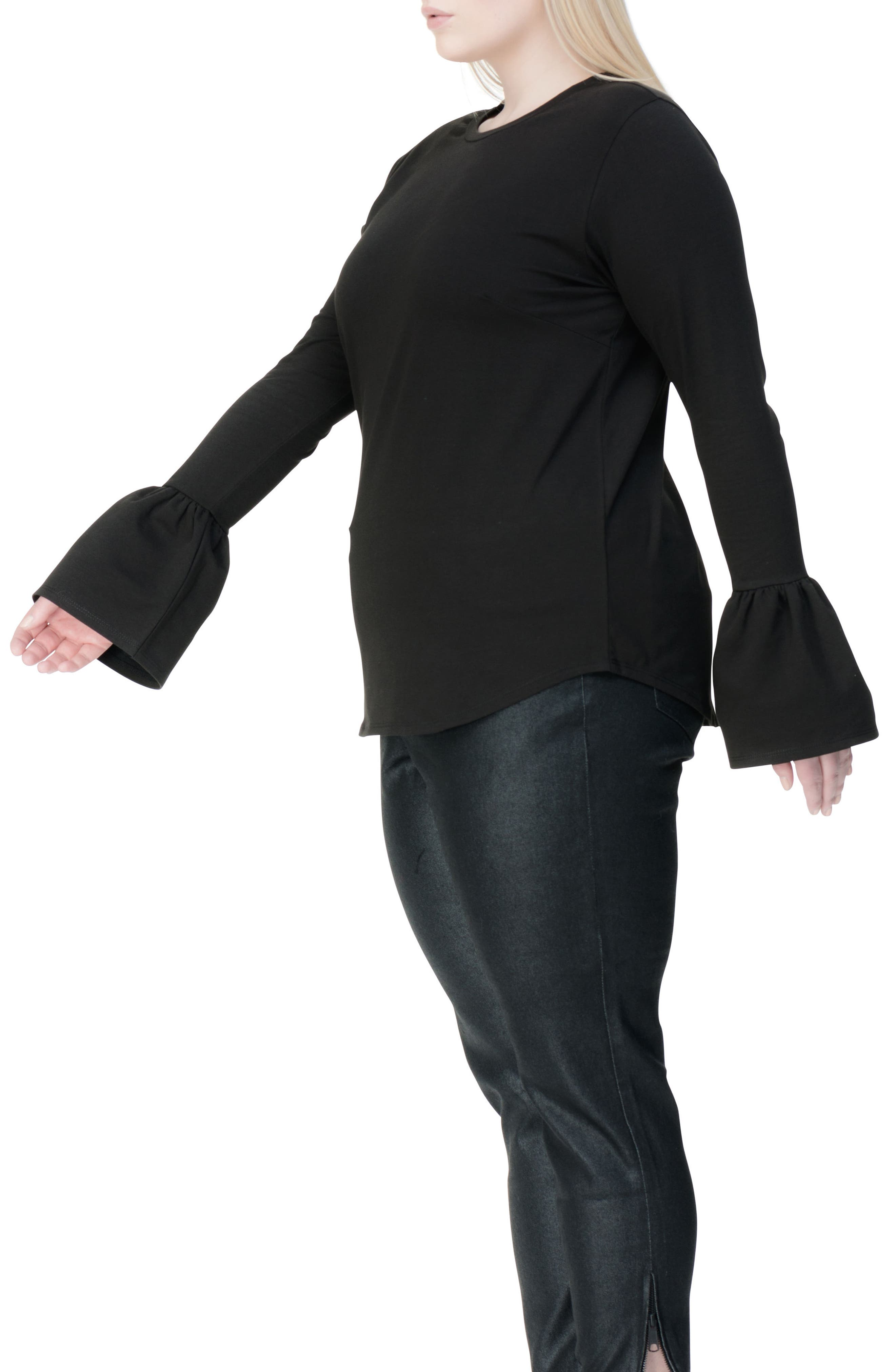 Archer Bell Sleeve Top,                             Alternate thumbnail 3, color,                             001