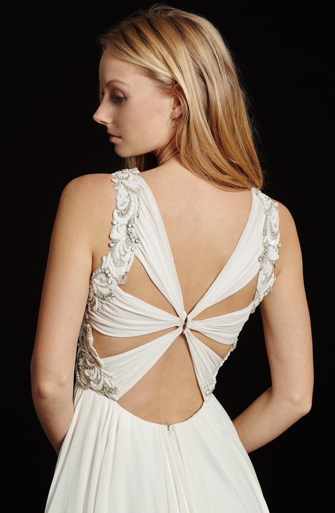 Gwen Sleeveless Grecian Draped Bodice Chiffon Gown,                             Alternate thumbnail 4, color,                             IVORY