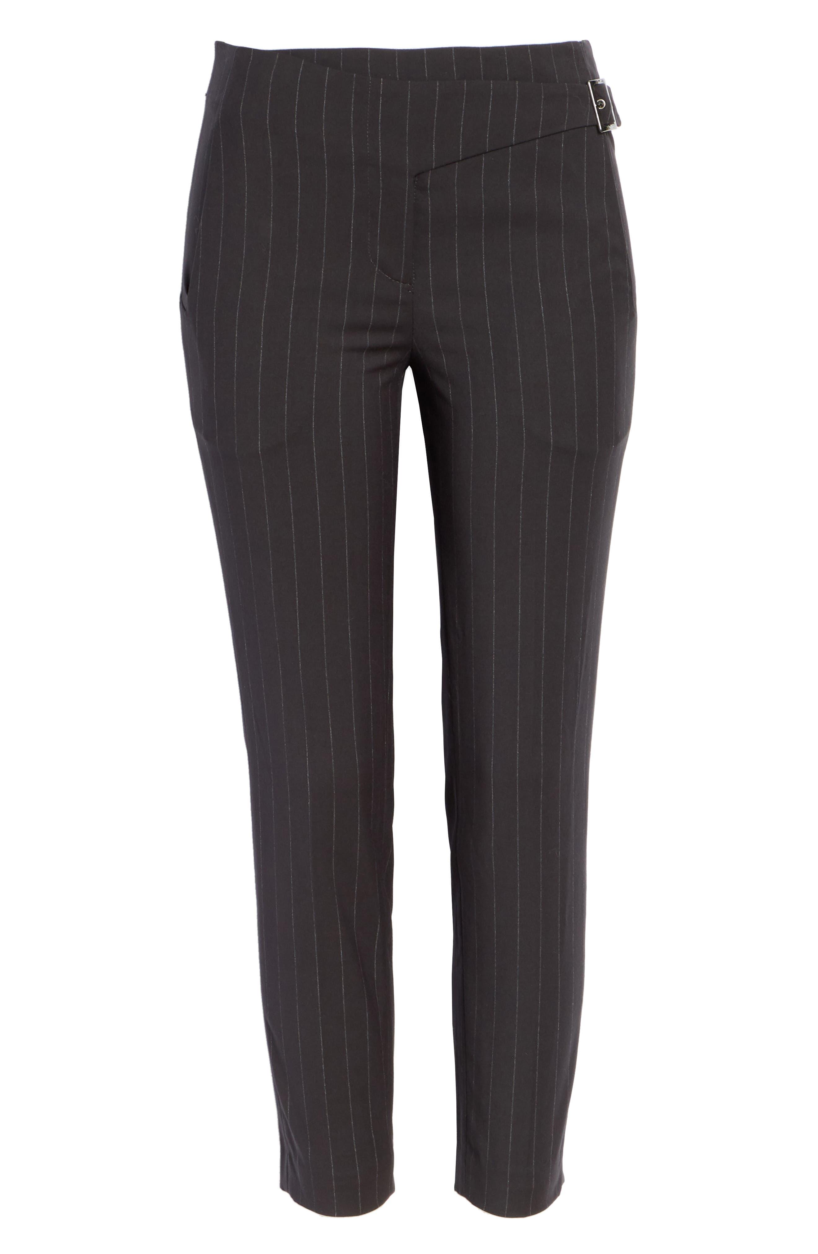 Bango Pinstripe Crop Trousers,                             Alternate thumbnail 6, color,                             001