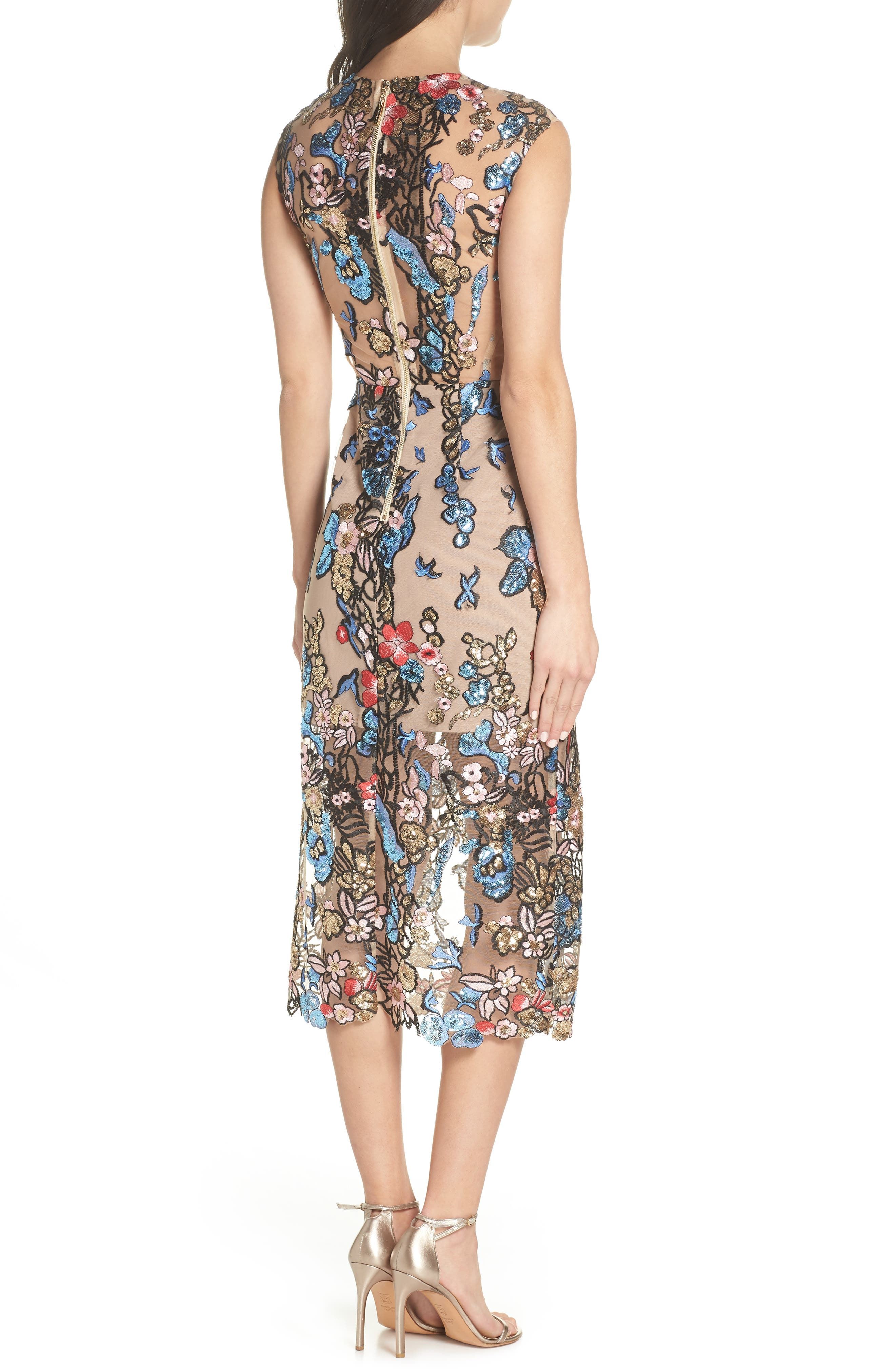 Bird of Paradise Sequin Embroidered Midi Dress,                             Alternate thumbnail 2, color,                             259