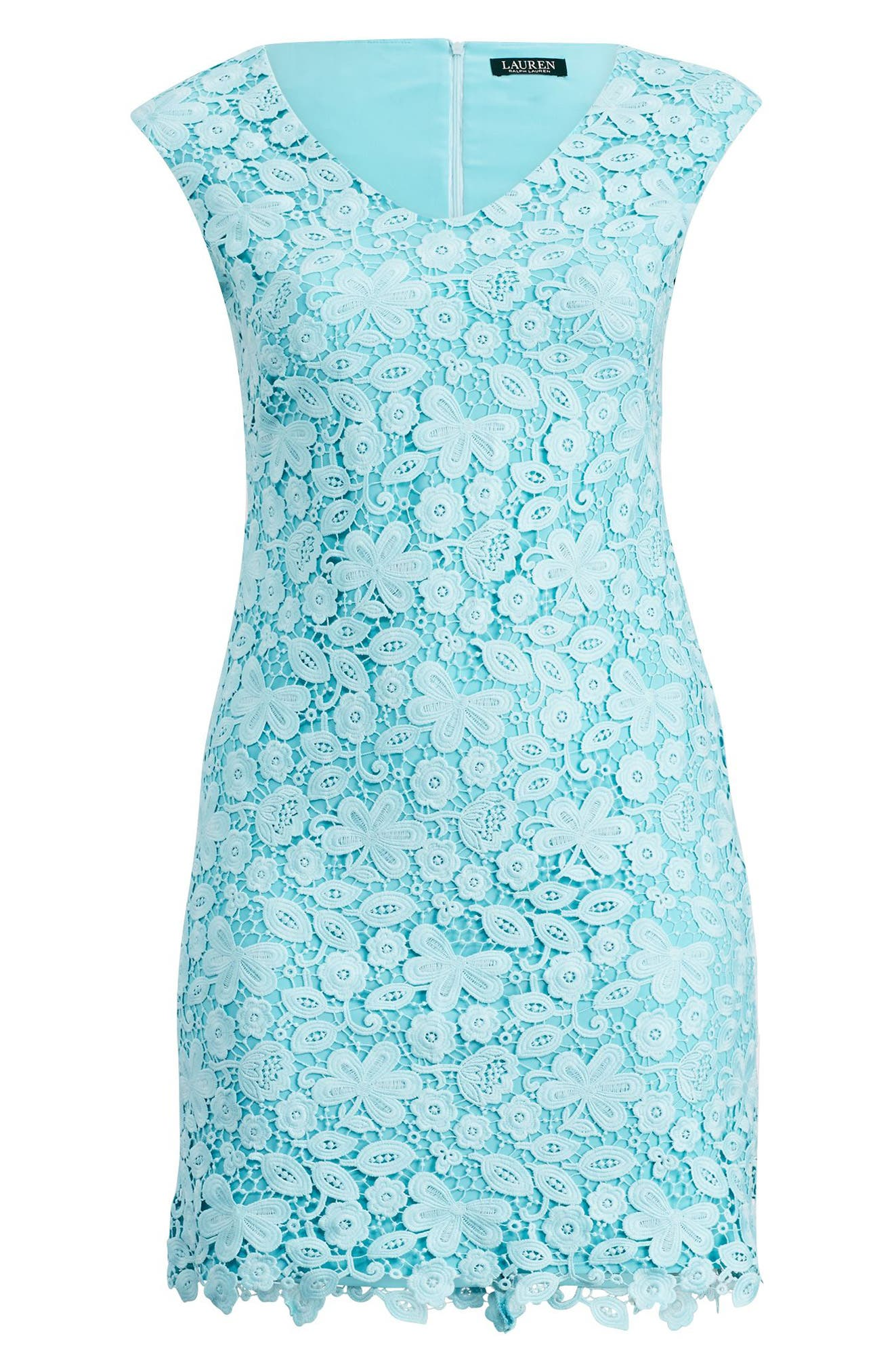 Montie Lace Sheath Dress,                             Alternate thumbnail 3, color,                             400