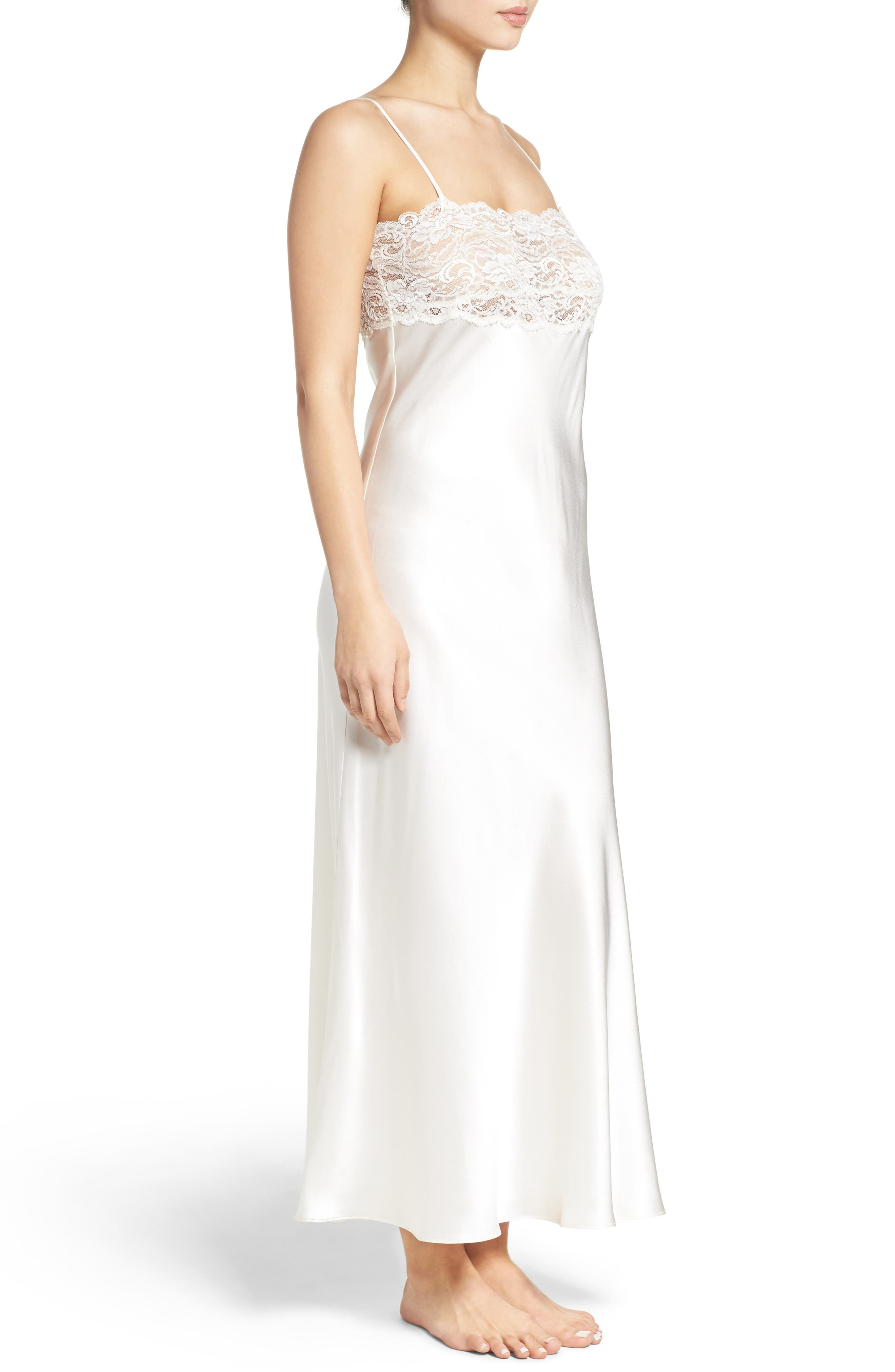 Lace & Silk Nightgown,                             Alternate thumbnail 6, color,