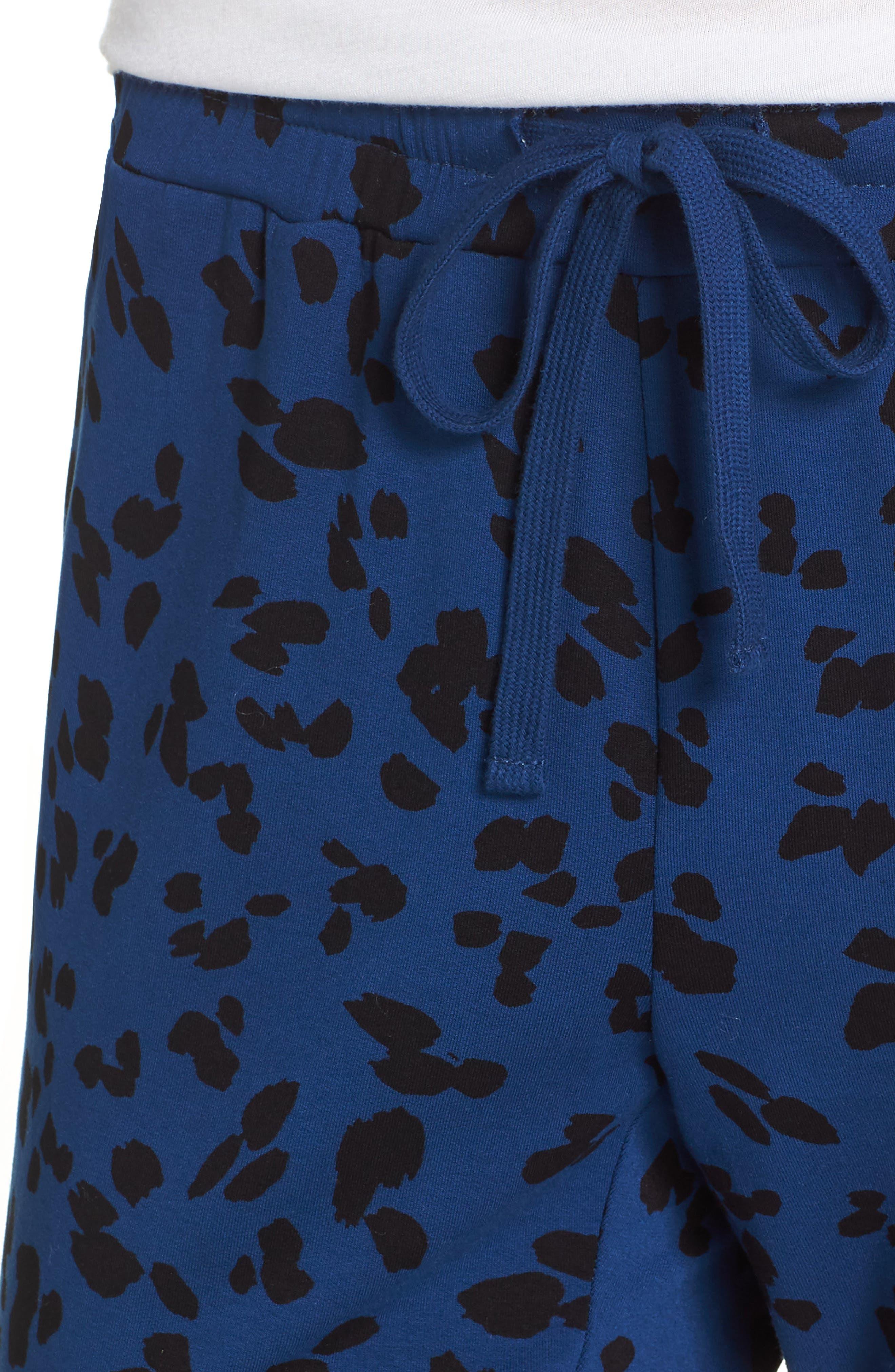 Totally Trending Leopard Print Jogger Pants,                             Alternate thumbnail 4, color,                             MARINE