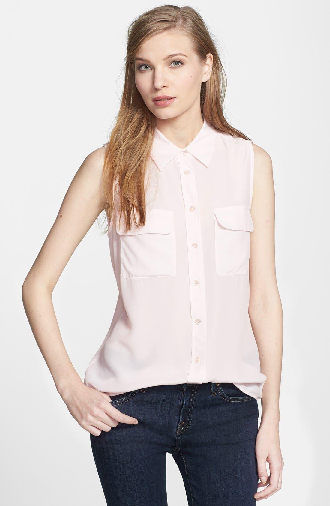 'Slim Signature' Sleeveless Silk Shirt,                             Main thumbnail 33, color,