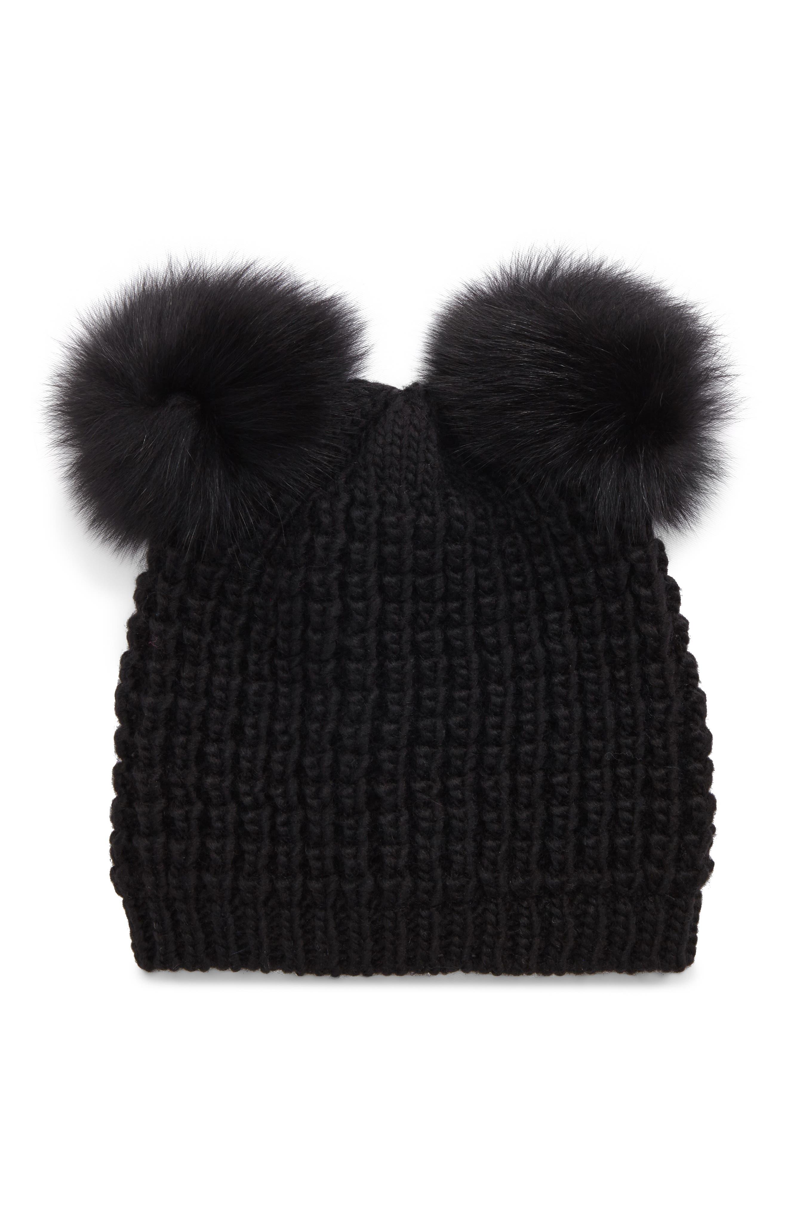 Genuine Fox Fur Pompoms Hat,                             Main thumbnail 1, color,                             001