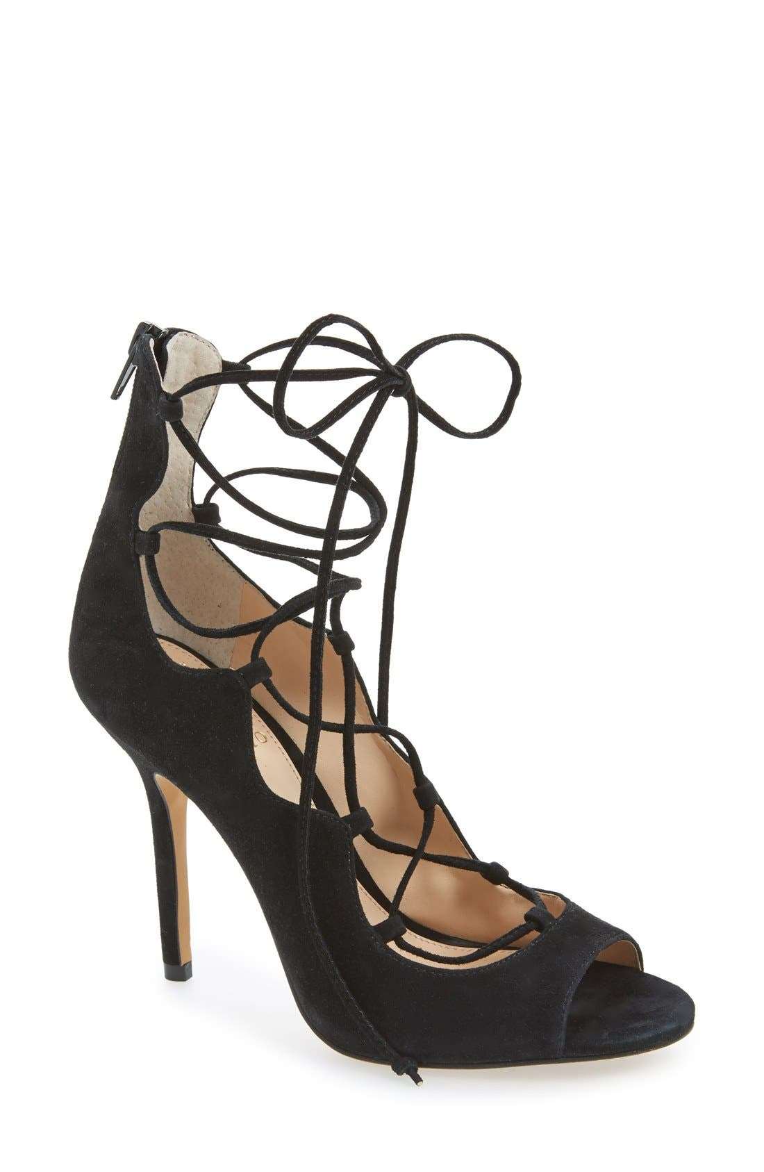 'Sandria' Peep Toe Ghillie Sandal,                         Main,                         color, 001