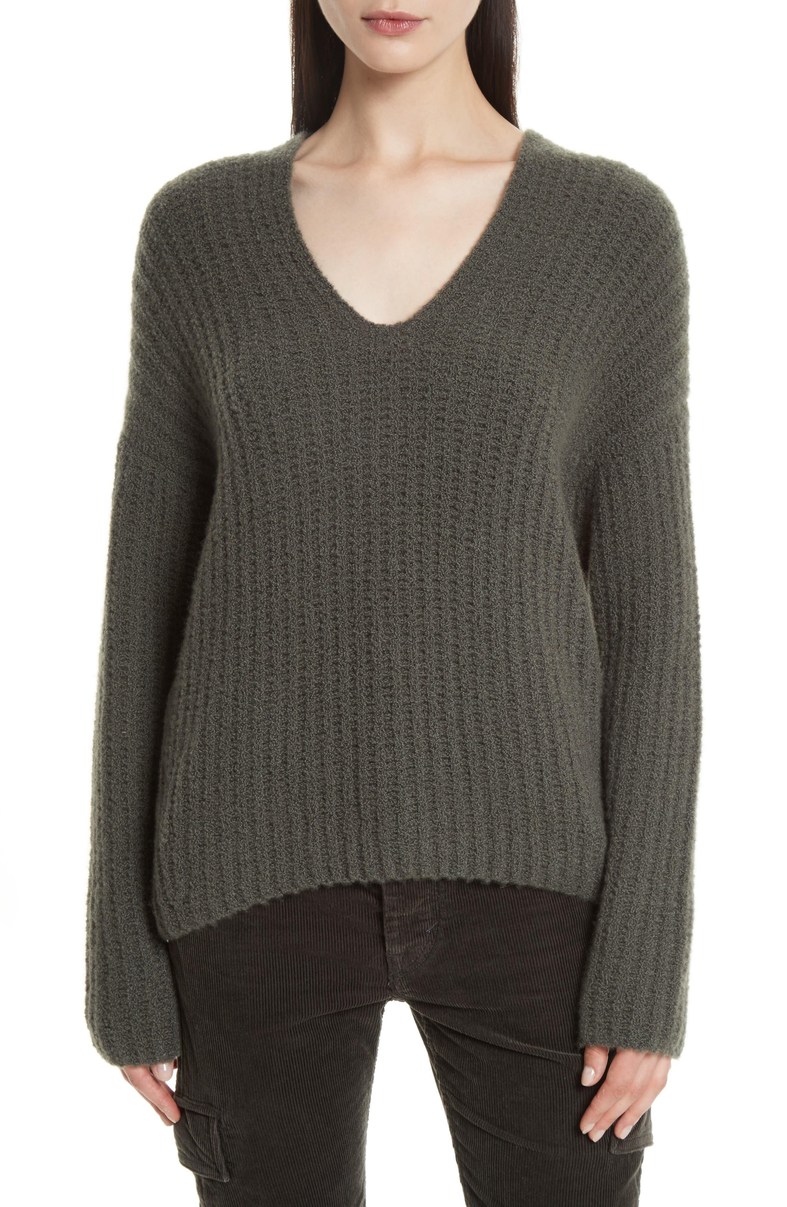 Deep V-Neck Cashmere Blend Sweater,                             Main thumbnail 2, color,