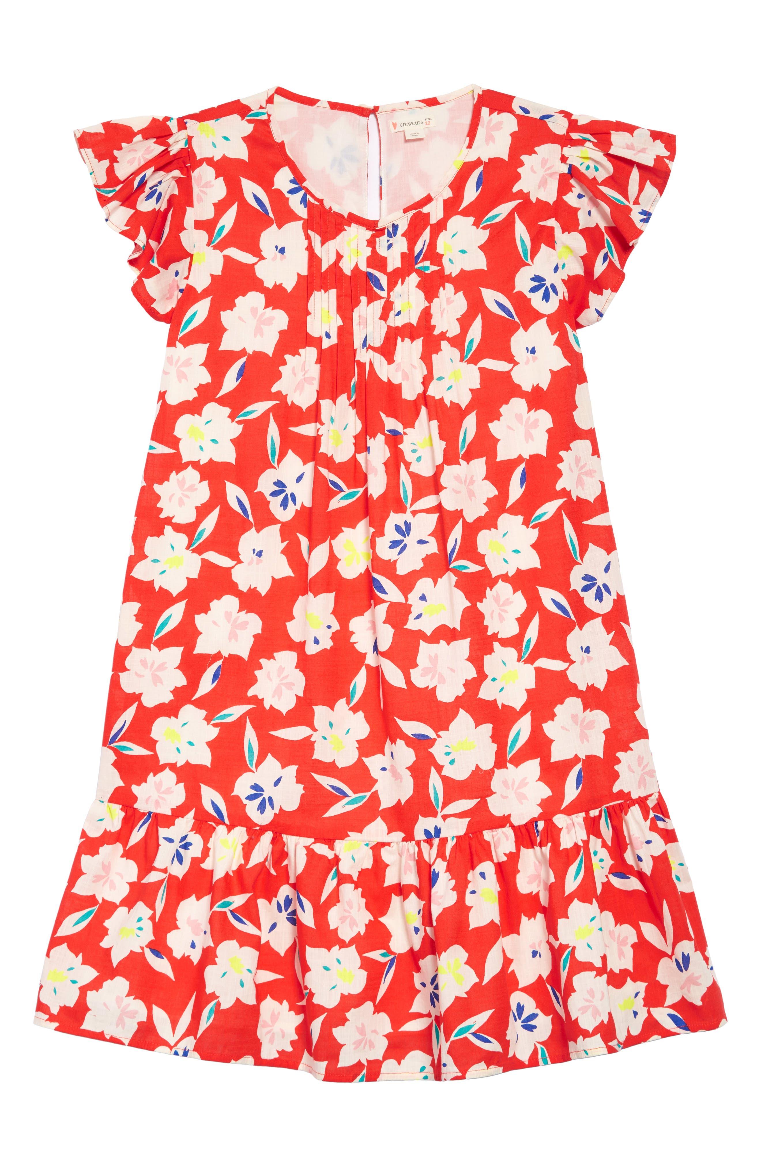 Floral Ruffle Trim Dress,                             Main thumbnail 1, color,                             650